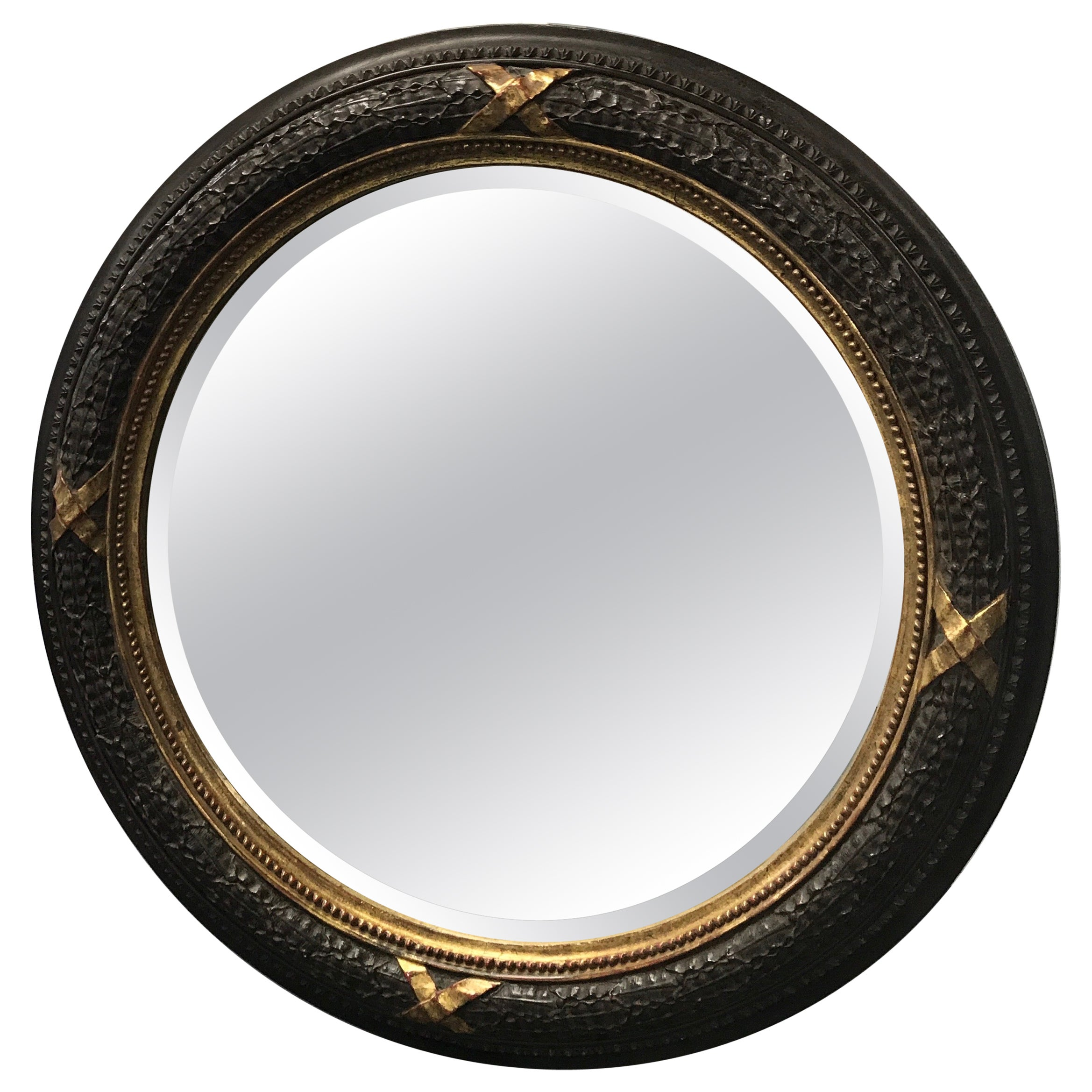 Large Carved Wood Neoclassical Style Wreath Mirror