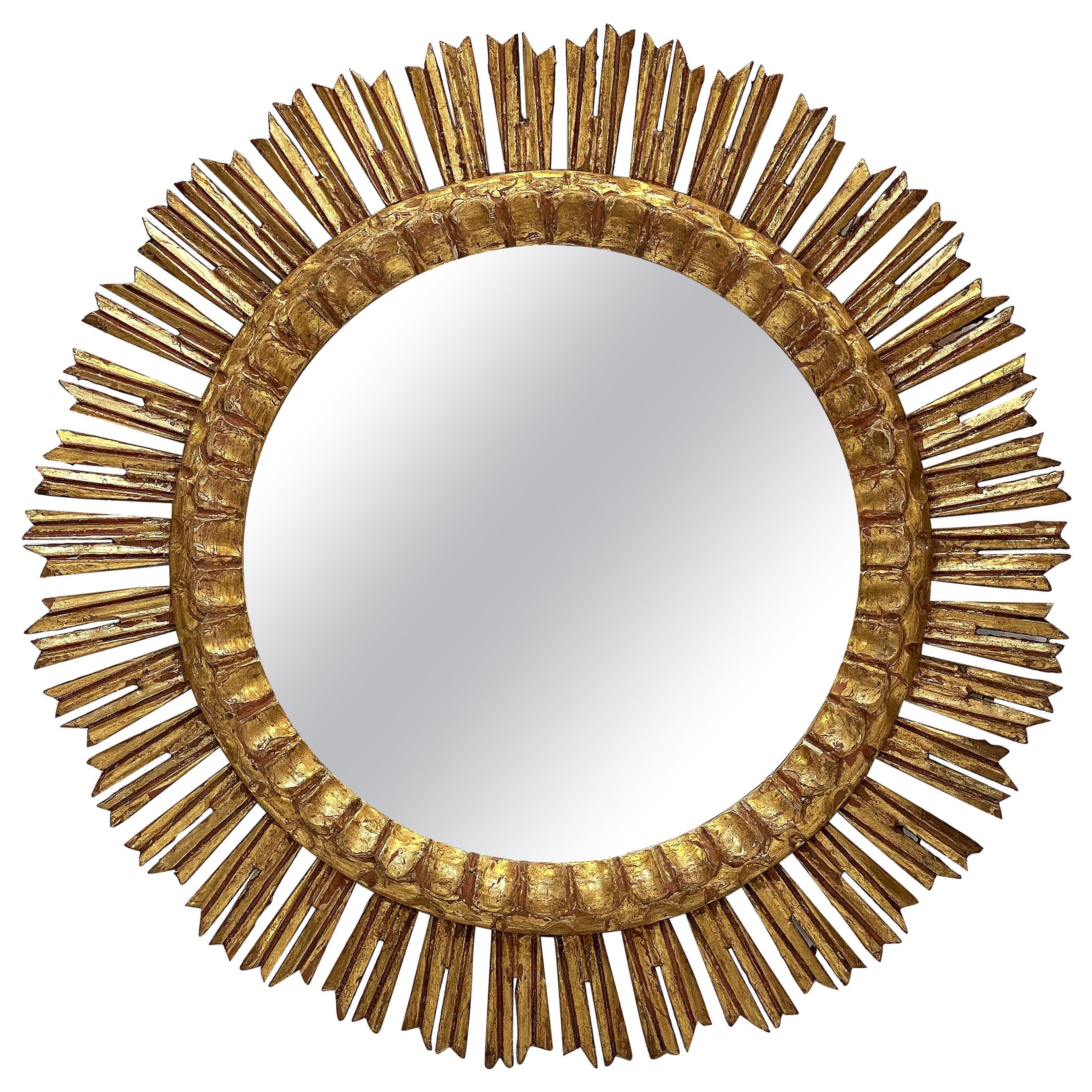 Large French Gilt Starburst or Sunburst Mirror (Diameter 24 1/4)