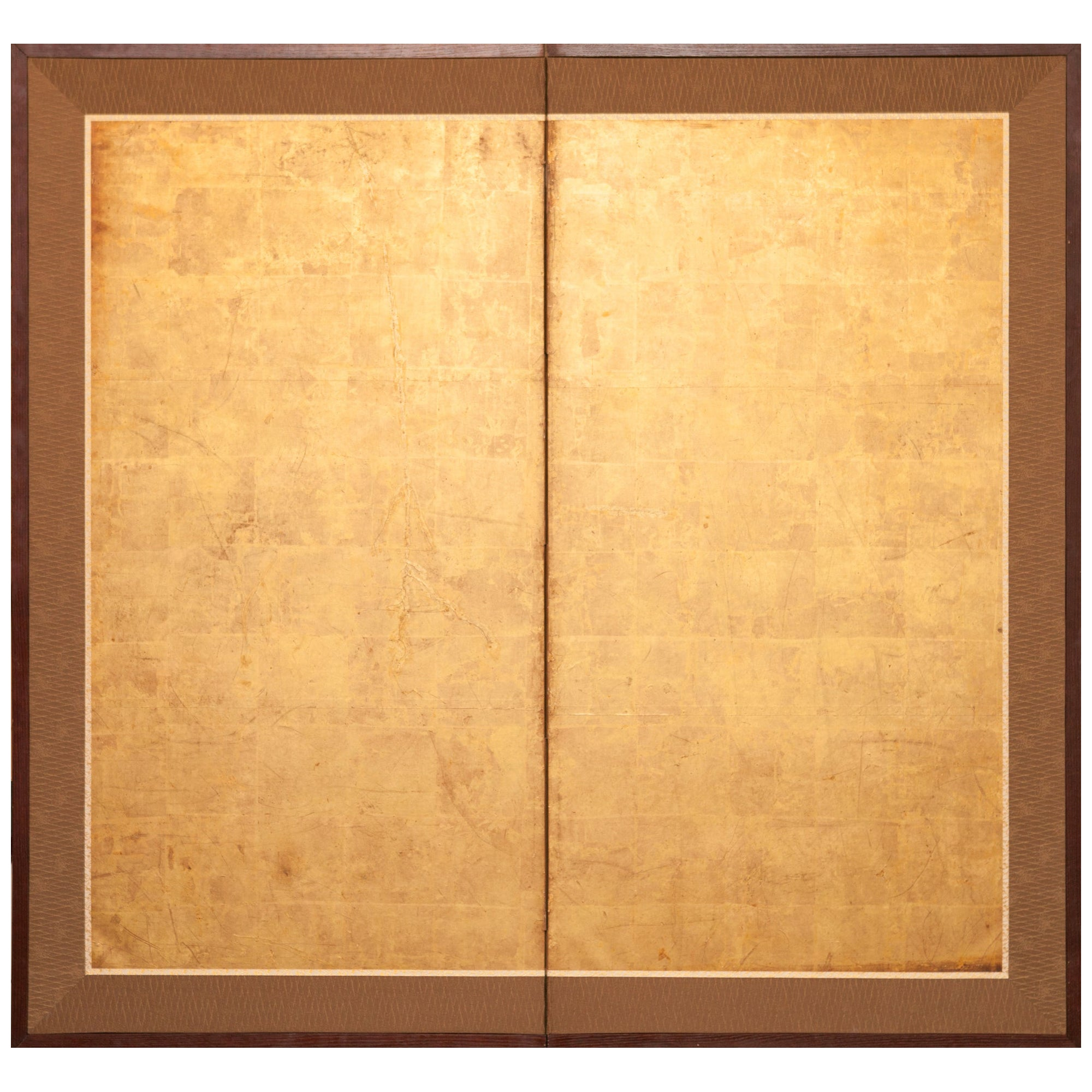 Japanese Two-Panel Screen Gold Leaf on Paper