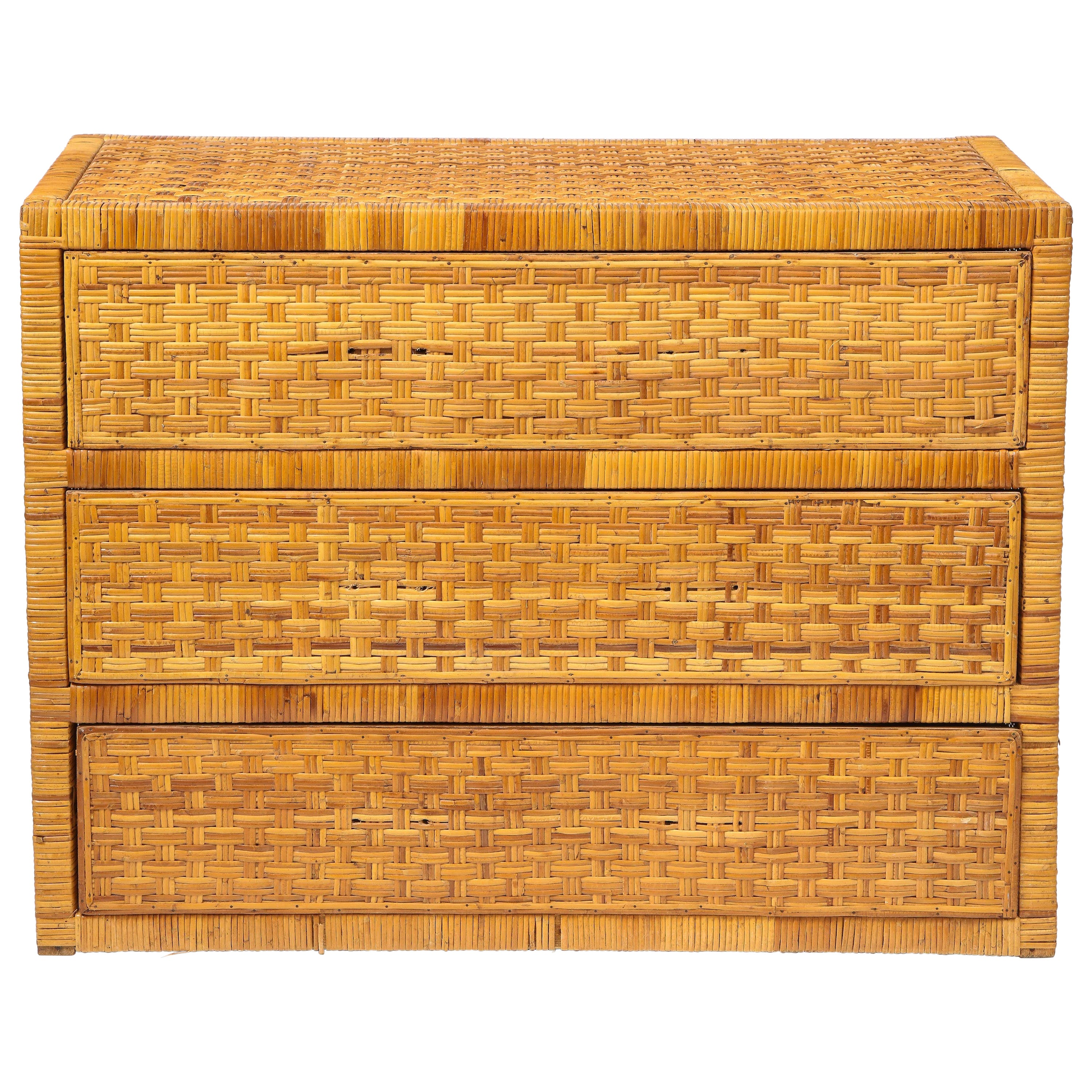Midcentury Rattan Chest of Drawers