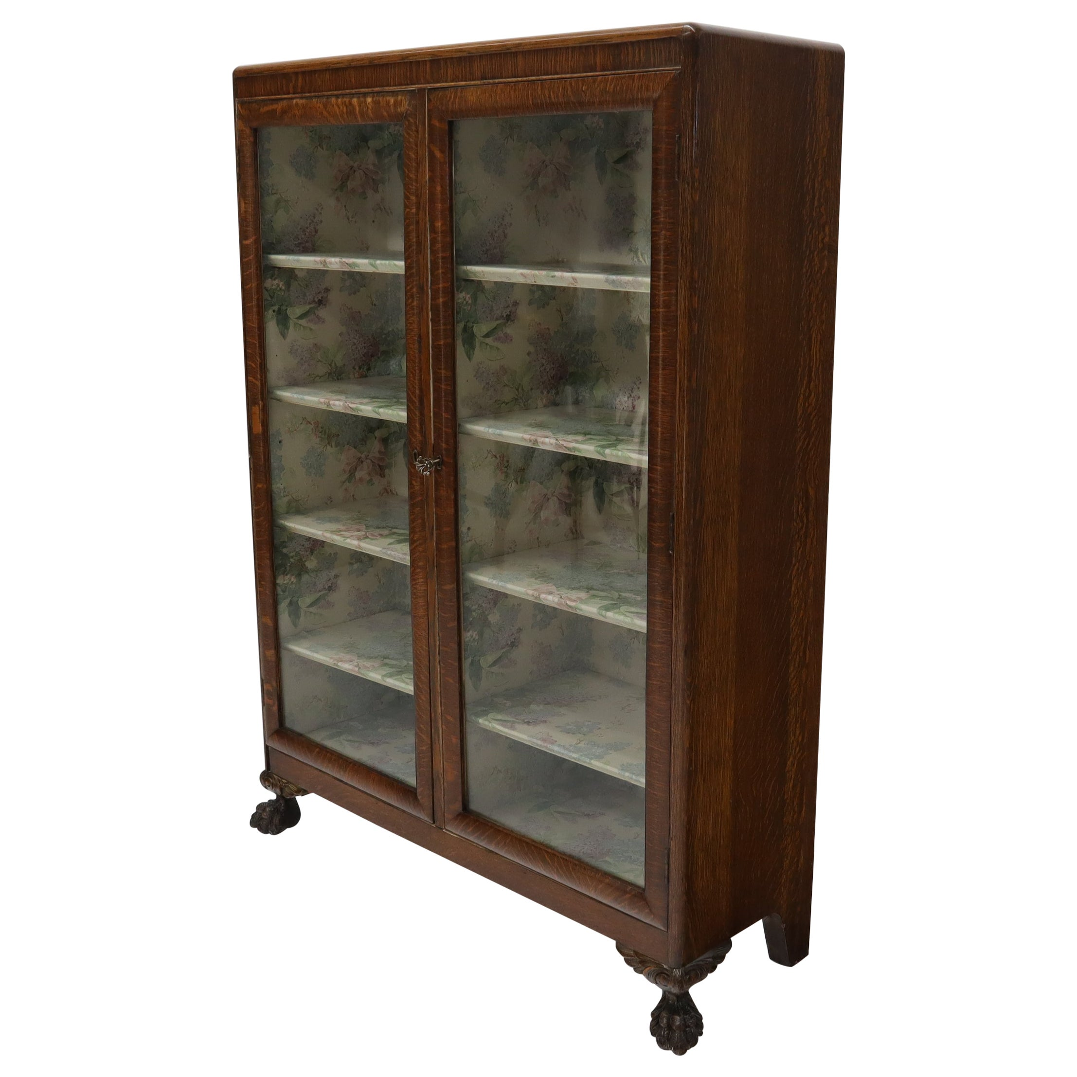 Claw Feet Tiger Oak Double Door Bookcase Curio Cabinet Wallpaper Interior