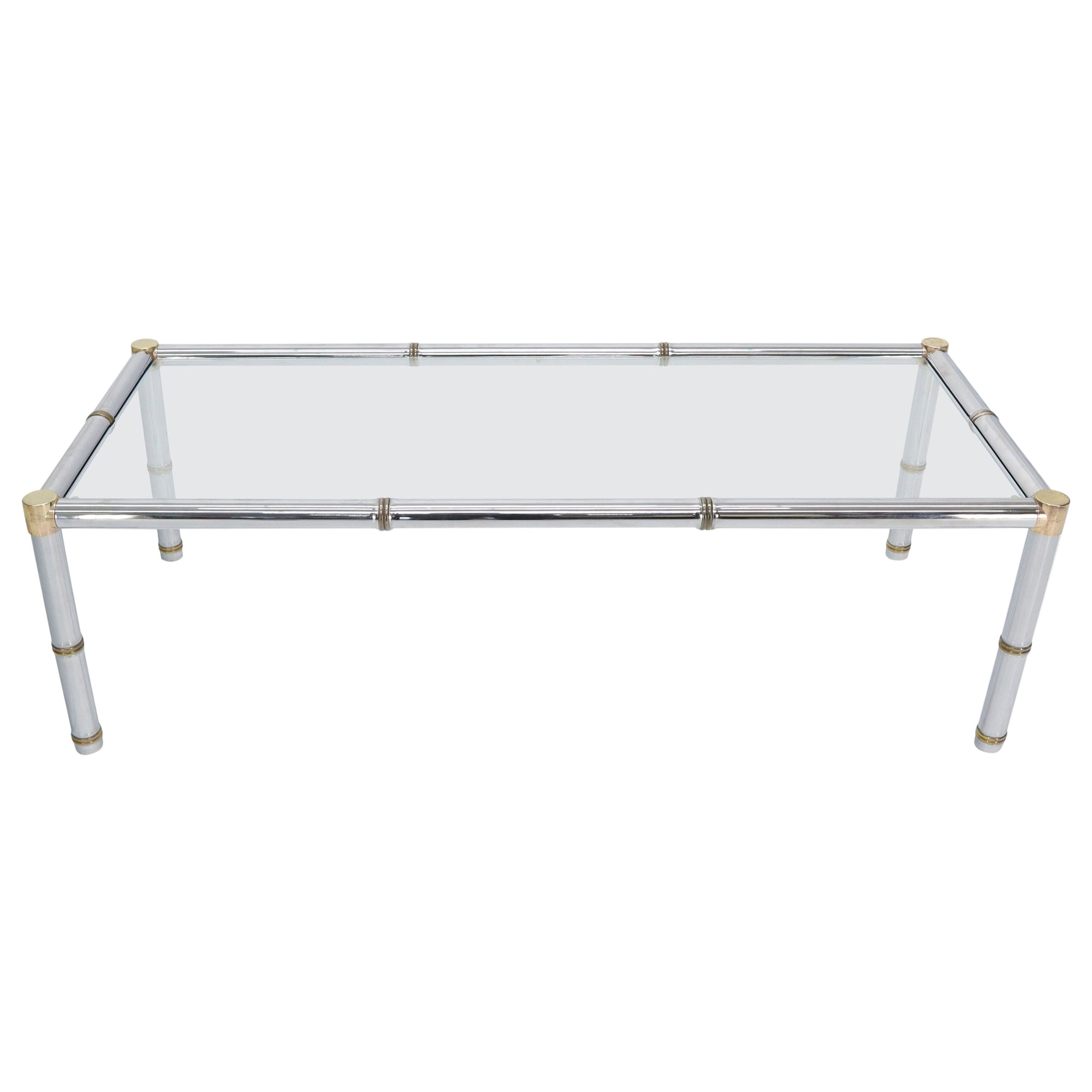 Faux Bamboo Rectangular Brass and Chrome Glass Top Coffee Table