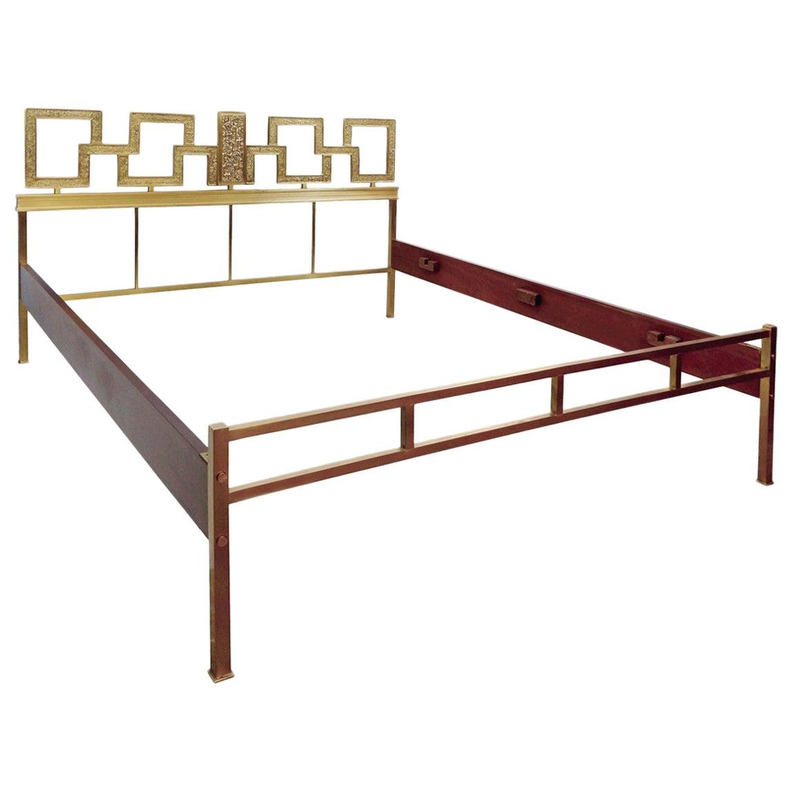 Italian Brass Double Bed, 1960s