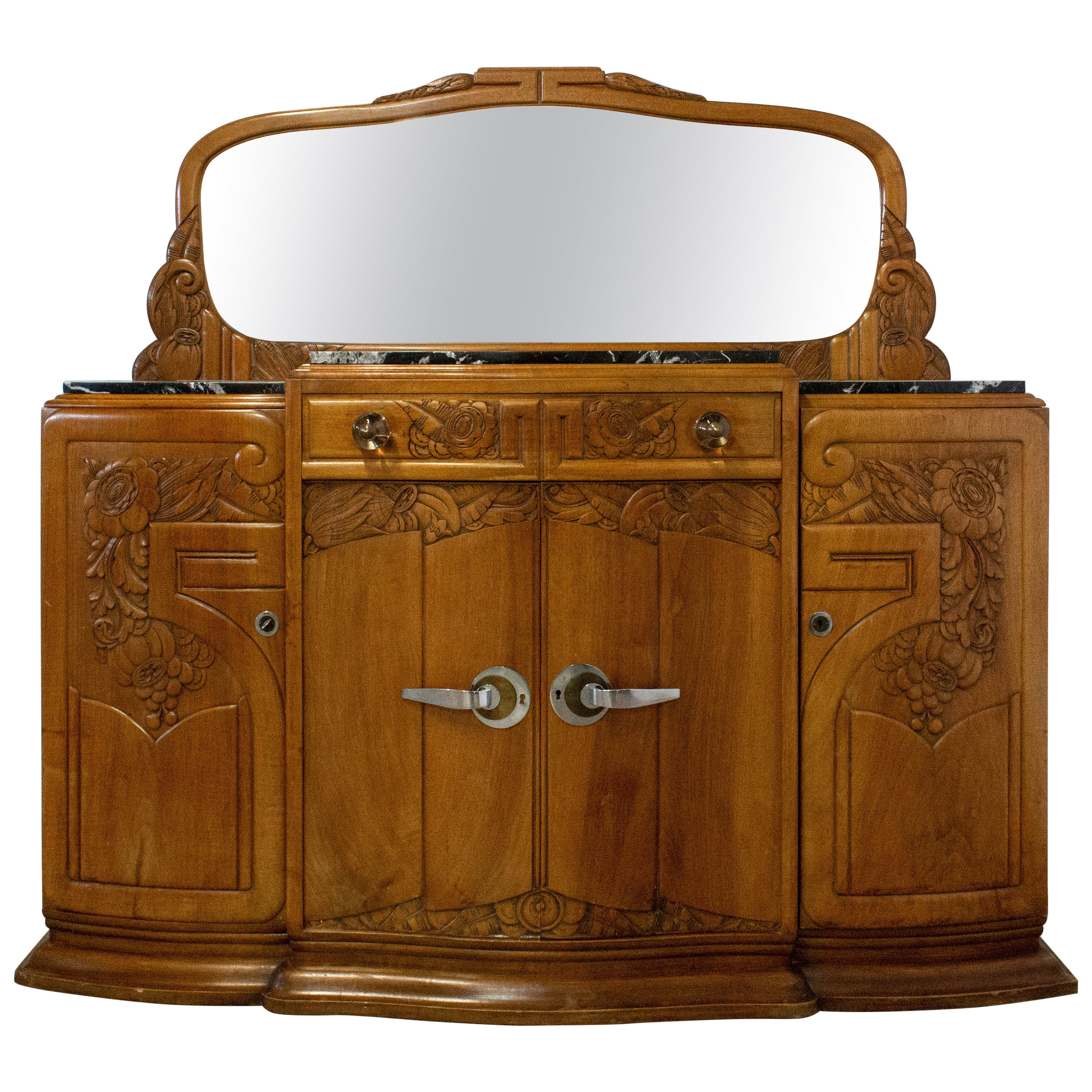 Art Deco Credenza Sideboard Marble-Top French Dresser Buffet, circa 1930