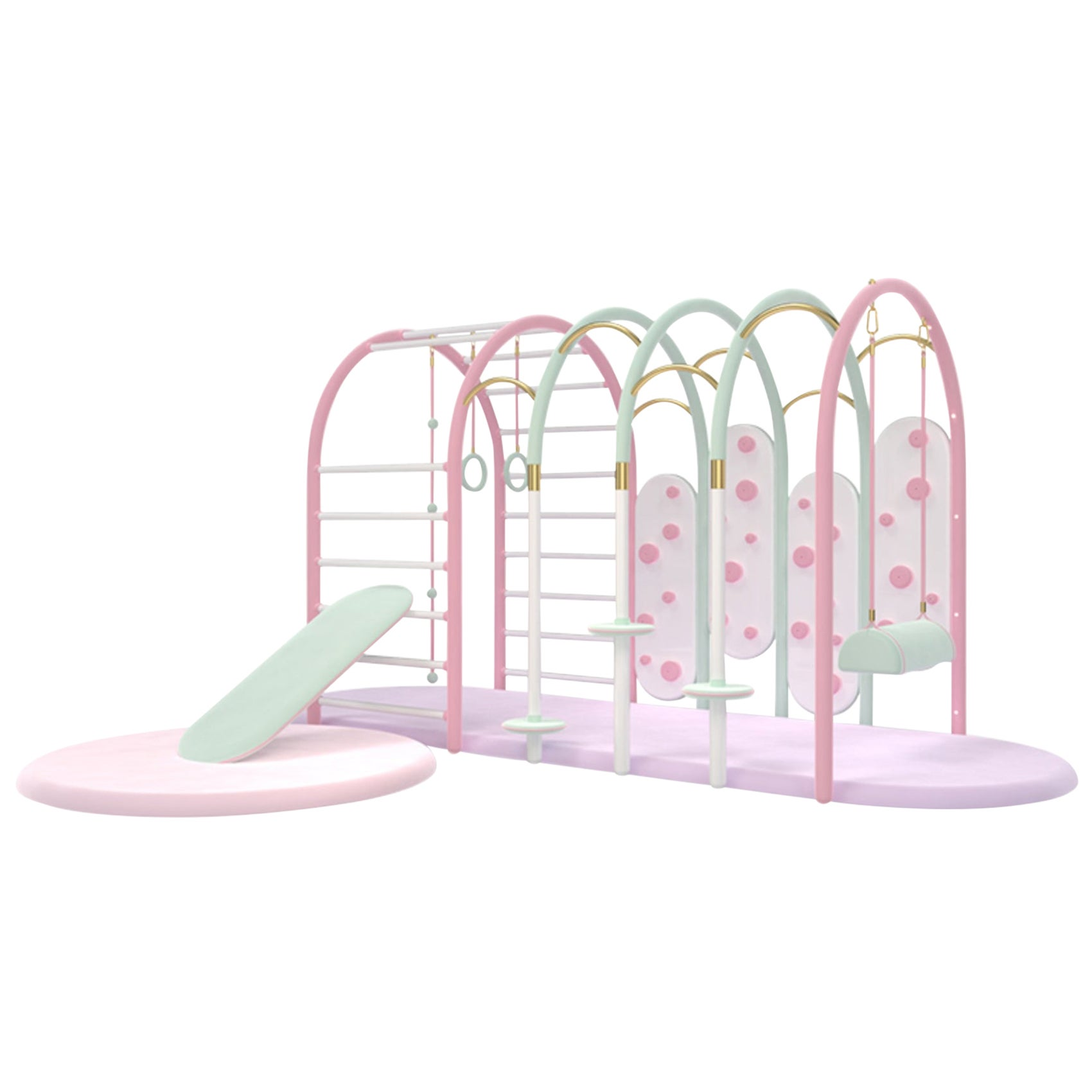 Bubble Gum Gym with Gold-Plated Details and Lacquered Wood