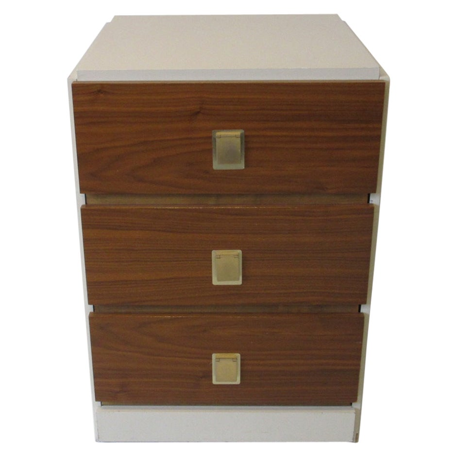 1970s Small Chest Walnut / Cream Lacquer in the Manner of Milo Baughman