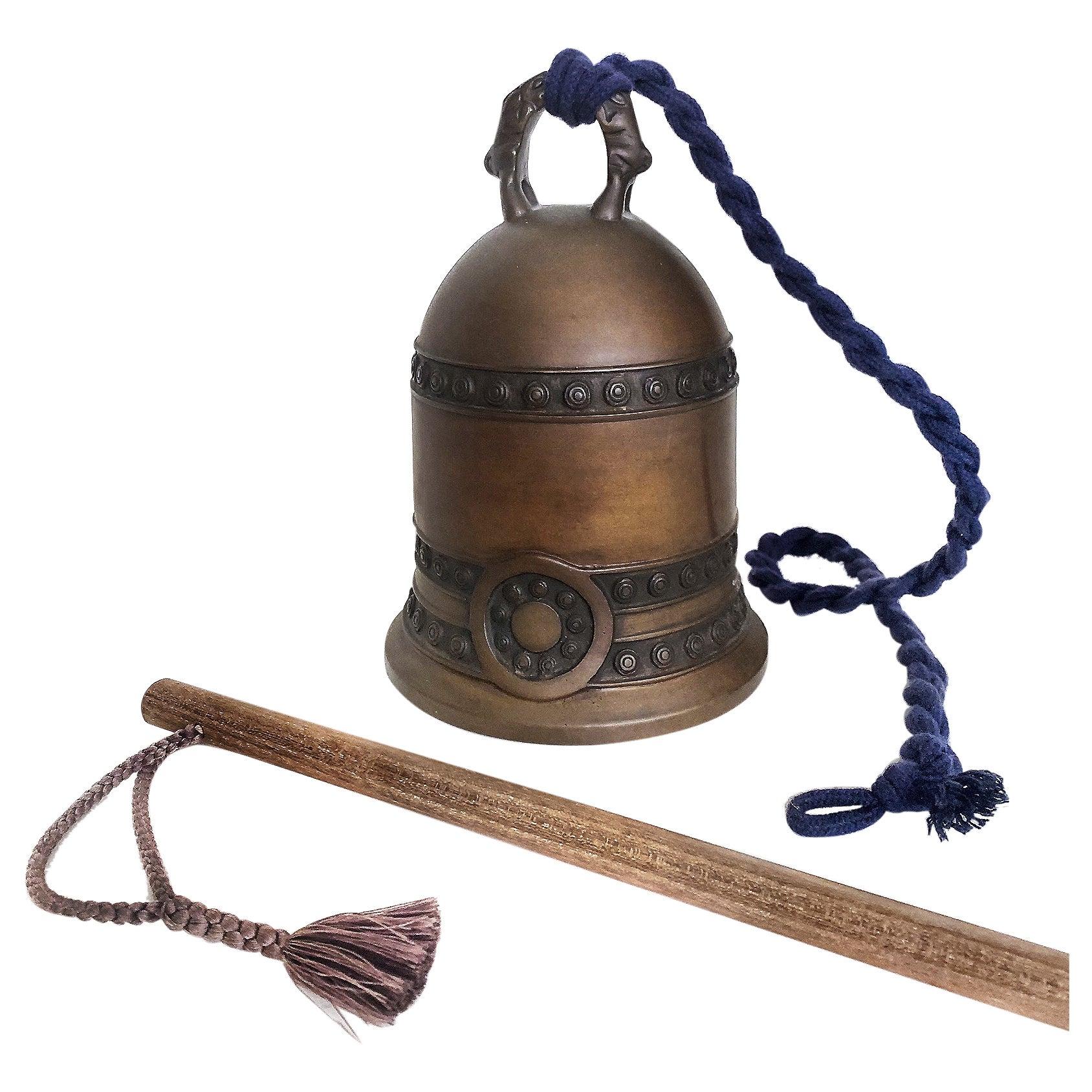 Antique Japanese Tsuri-Kane Buddhist Bronze Bell, Meiji Period