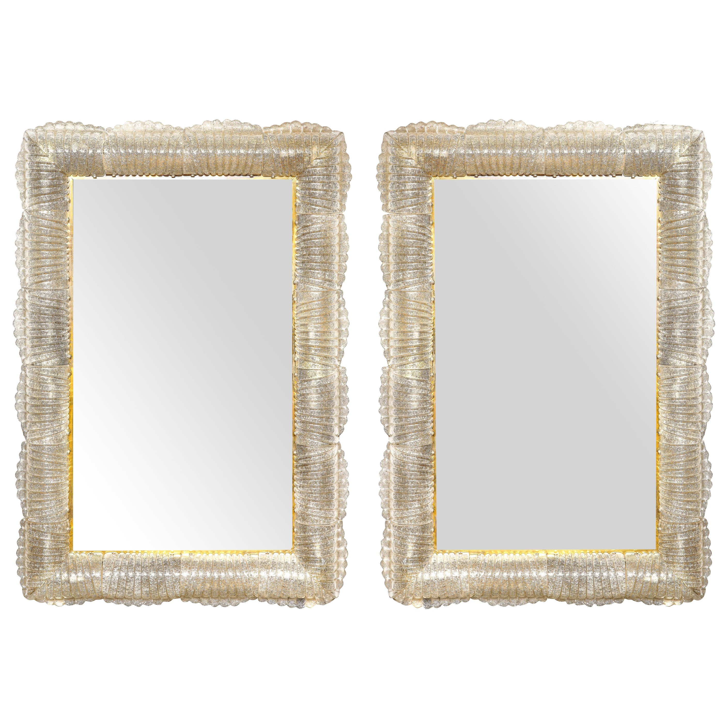 Pair of Textured Smoke Grey Taupe Murano Glass and Brass Mirrors Lighted, Italy
