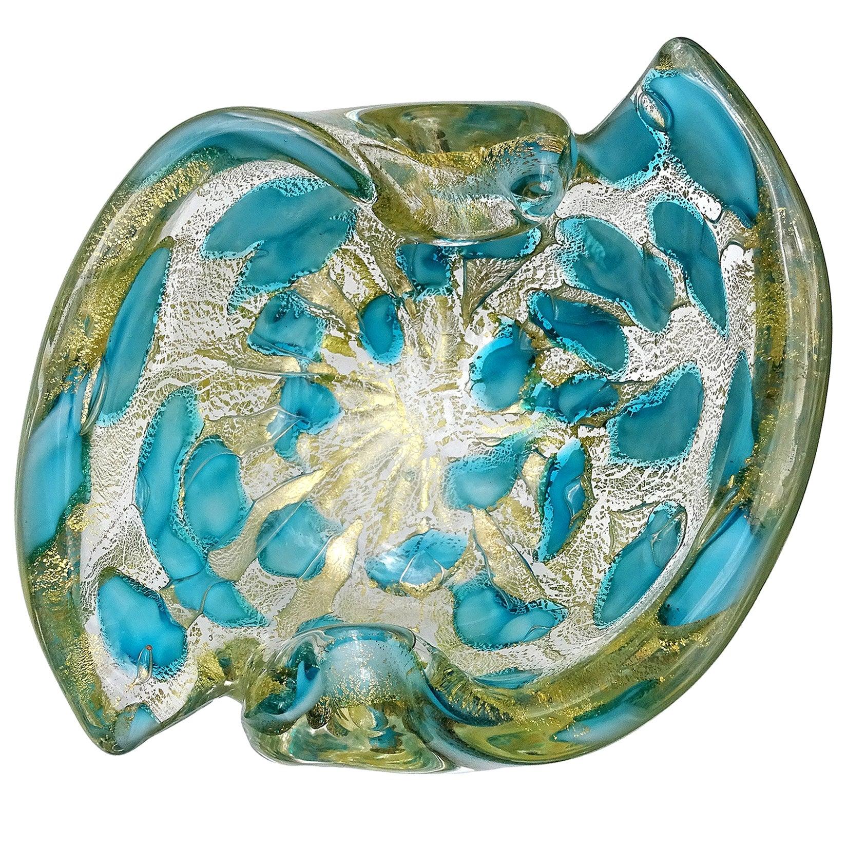 Barovier Toso Murano Gold Flecks Blue Spots Italian Art Glass Bowl Ashtray Dish