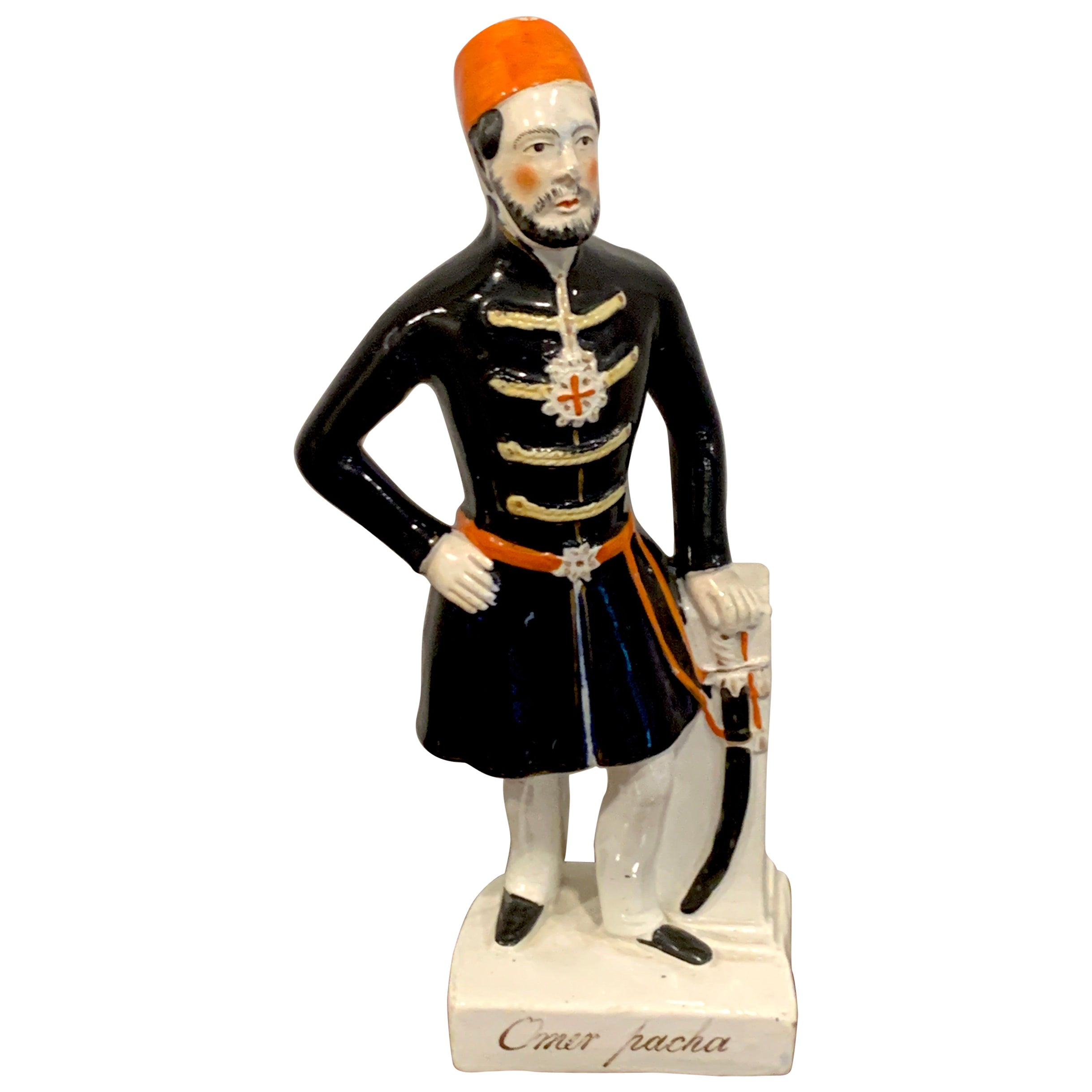 19th Century Staffordshire Military Portrait Figure of Omar Pacha