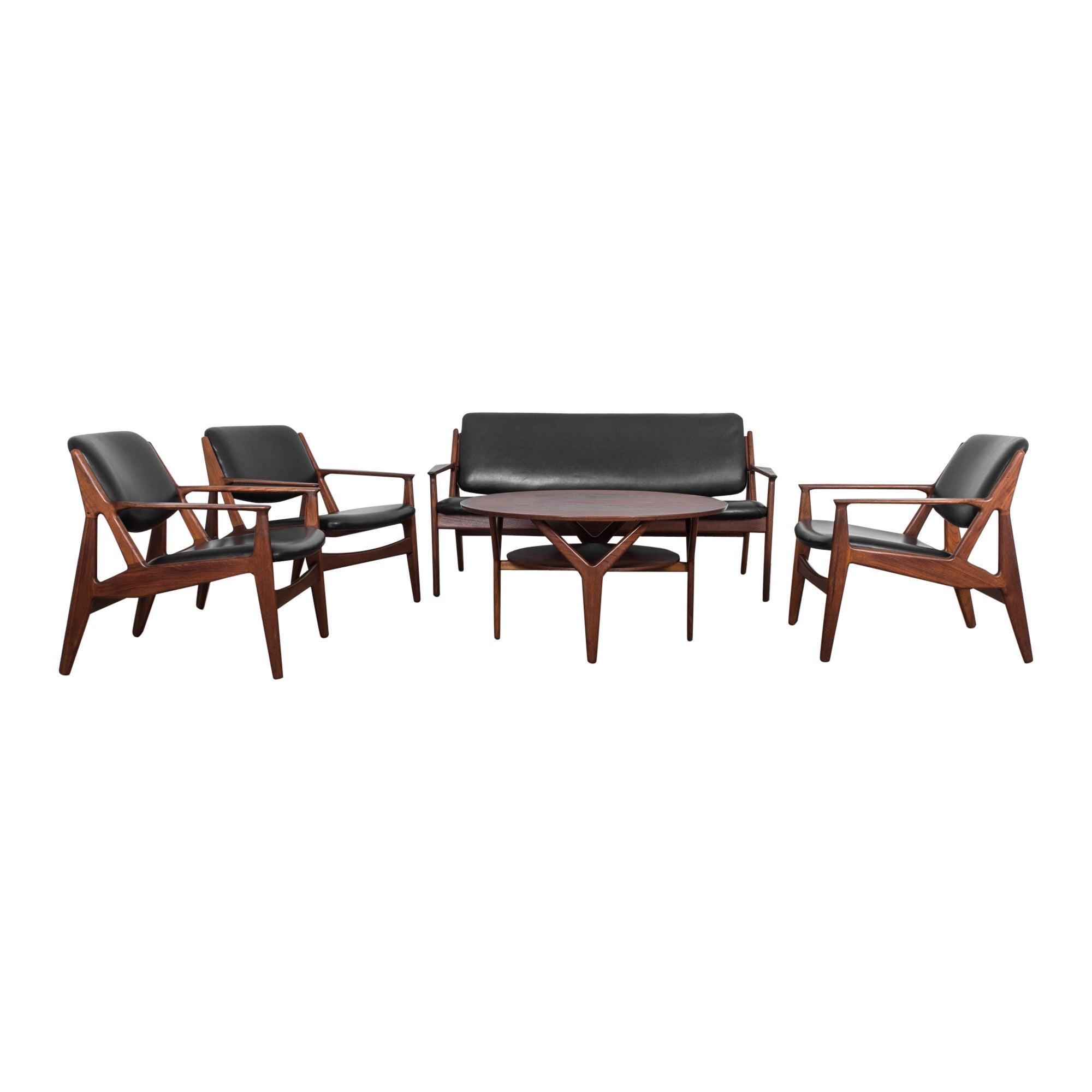 Teak and Black Leather Living Room Set by Arne Vodder