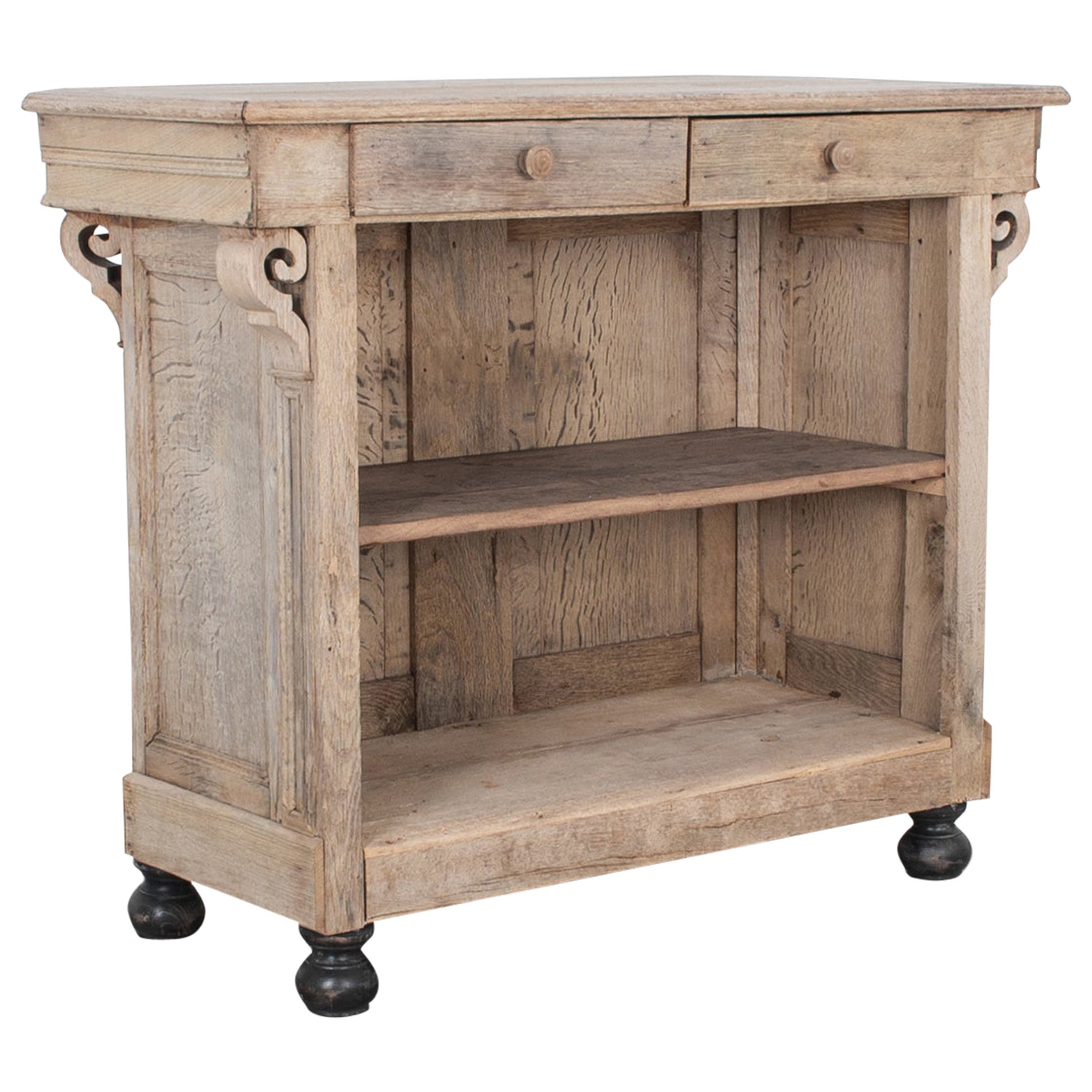 Late 19th Century French Bleached Oak Bar