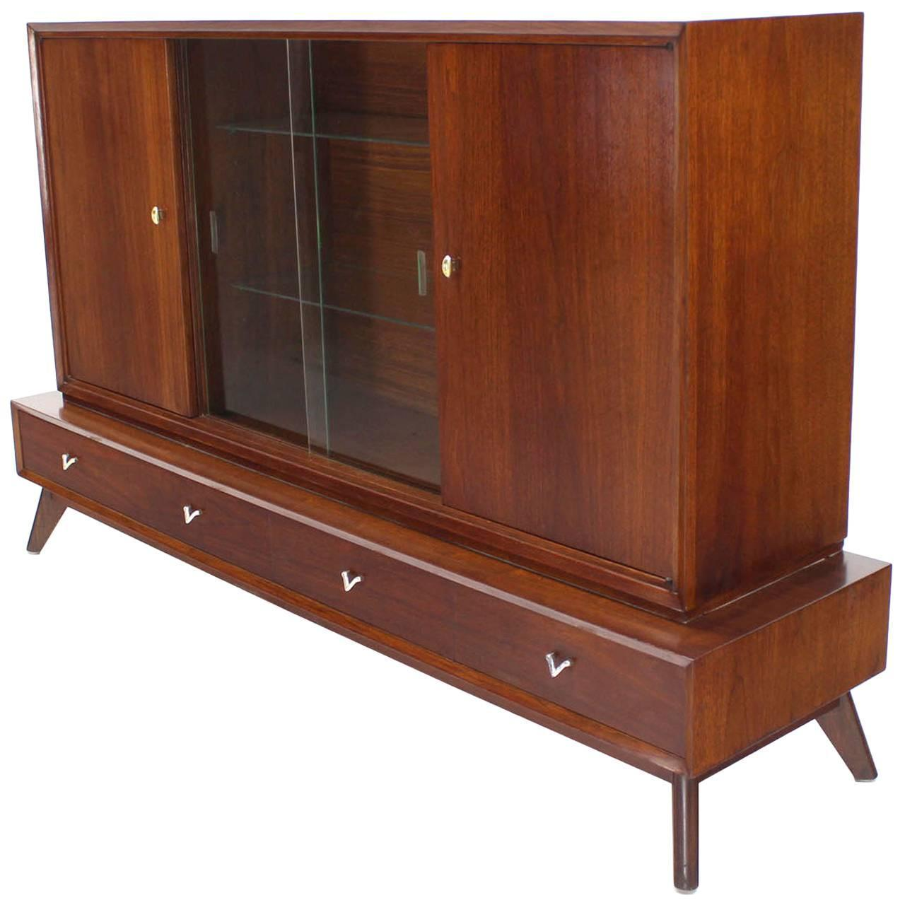Superieur Two Part Mid Century Modern Walnut Credenza Or Low China Cabinet For Sale  At 1stdibs