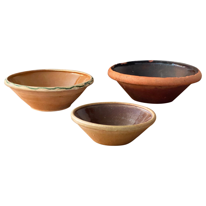 Swedish Folk Art Pottery, Group of 19th Century Pottery Farmers Bowls