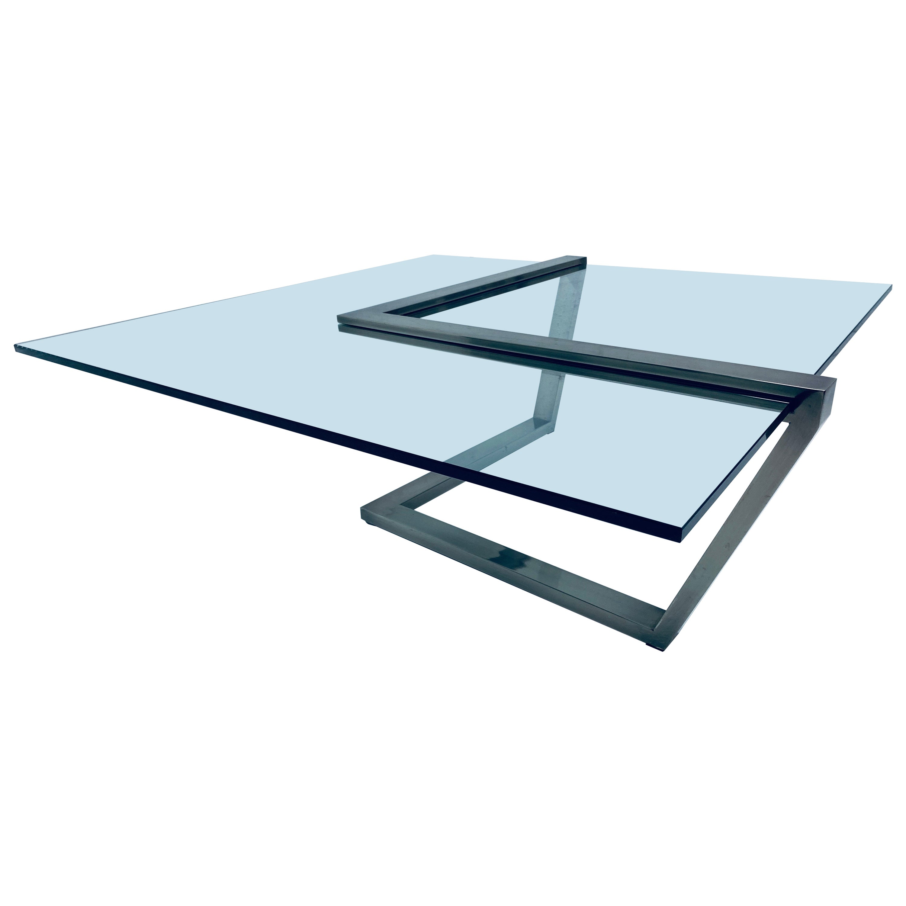 Design Institute of America DIA Glass and Brushed Chrome Coffee Table
