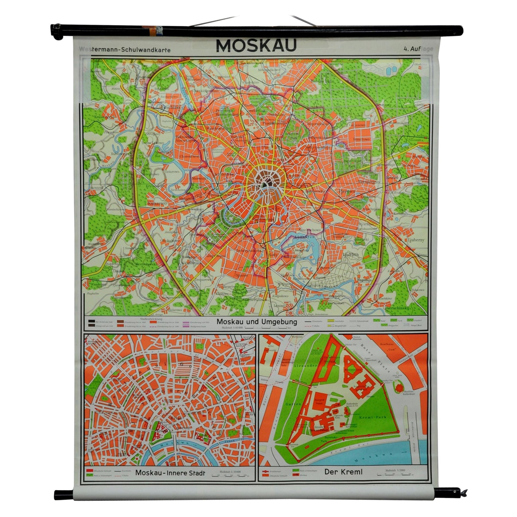Vintage Pull Down Wall Chart City Map of Moscow Russia
