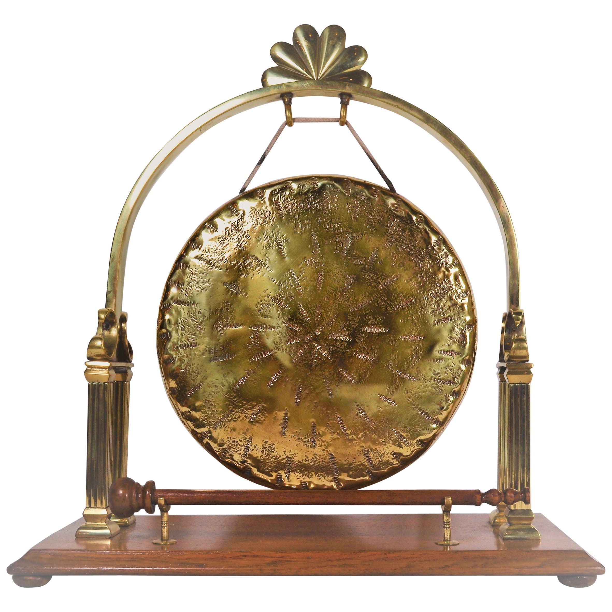 Antique English Brass and Oak Dinner Gong, circa 1890