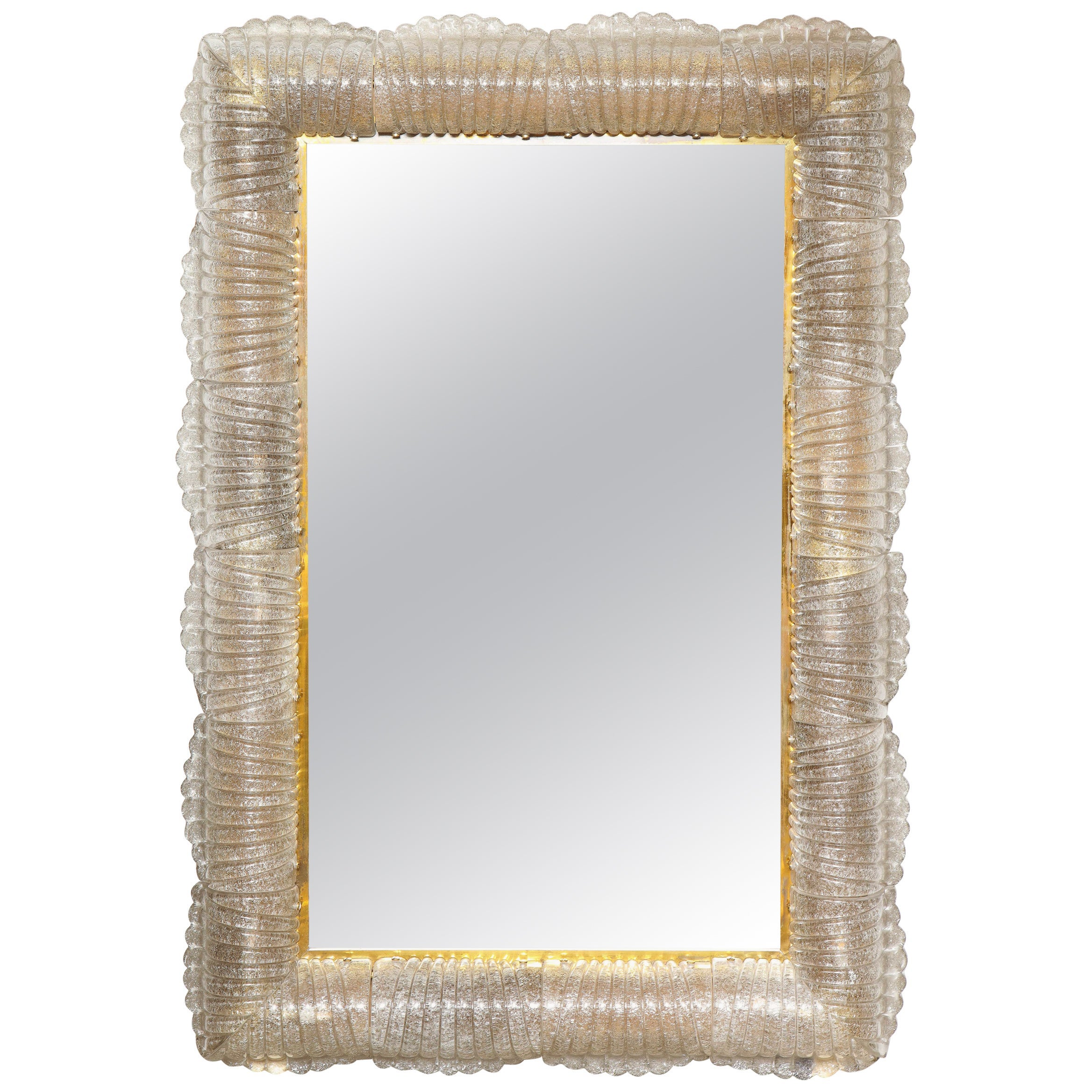 Textured Light Smoke Taupe Murano Glass and Brass Mirrors, Lighted, Italy