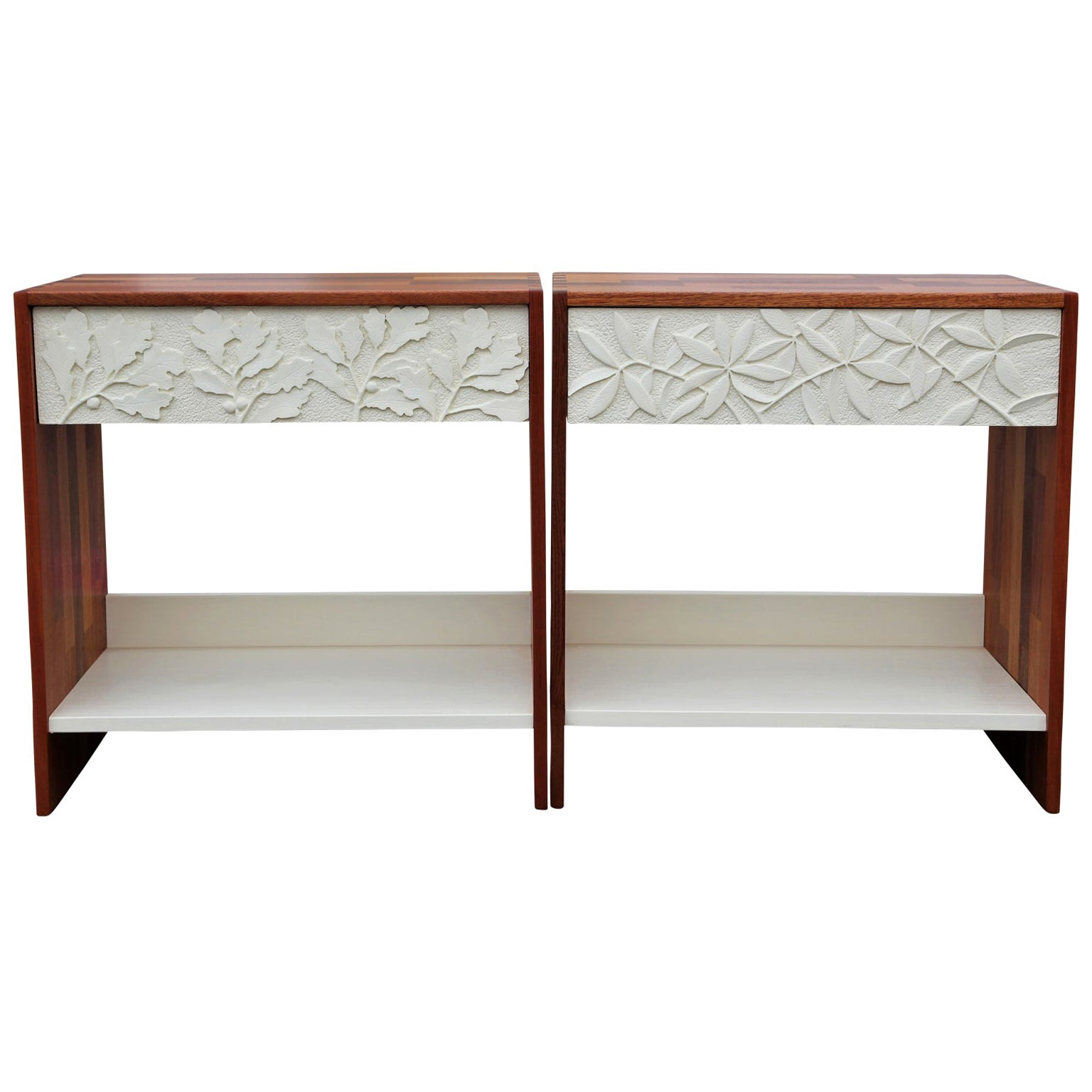 Custom Pair of Leaf Carved Mahogany Nightstands / Side Tables by Norm Stoeker