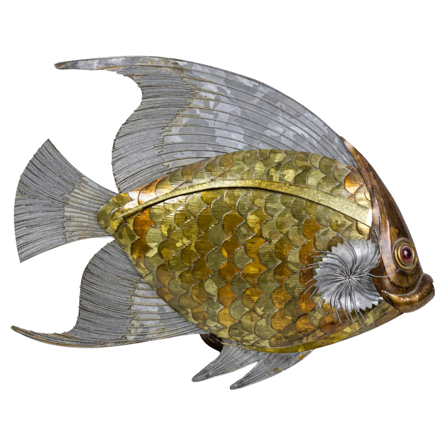 Fish in Copper, Brass and Tin Leaves, 1970s