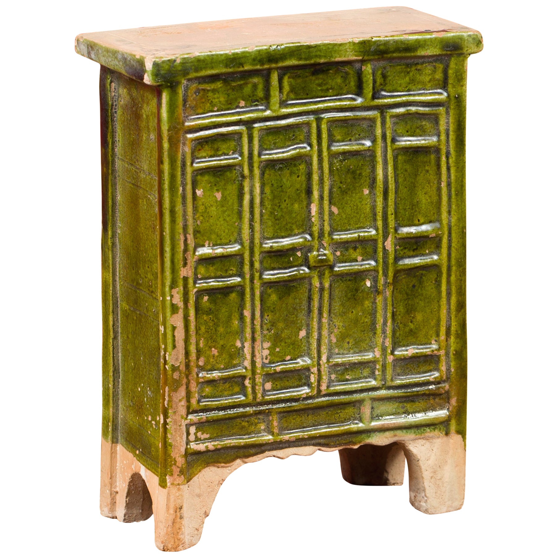 Chinese Ming Dynasty Period Green Glazed Miniature Armoire with Bracket Feet