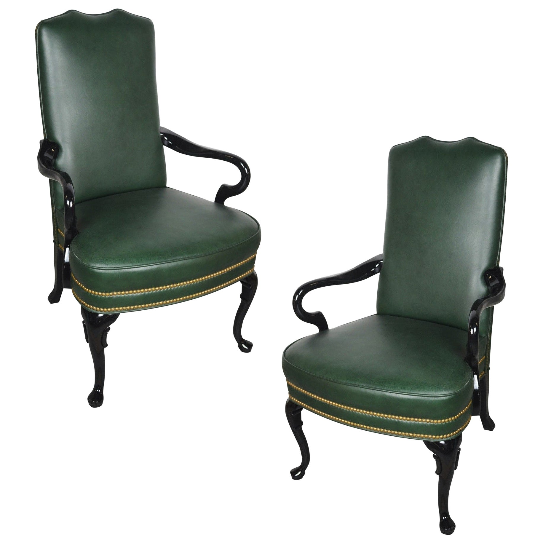 Pair of Vintage Queen Anne Green Library Office Lounge Armchairs