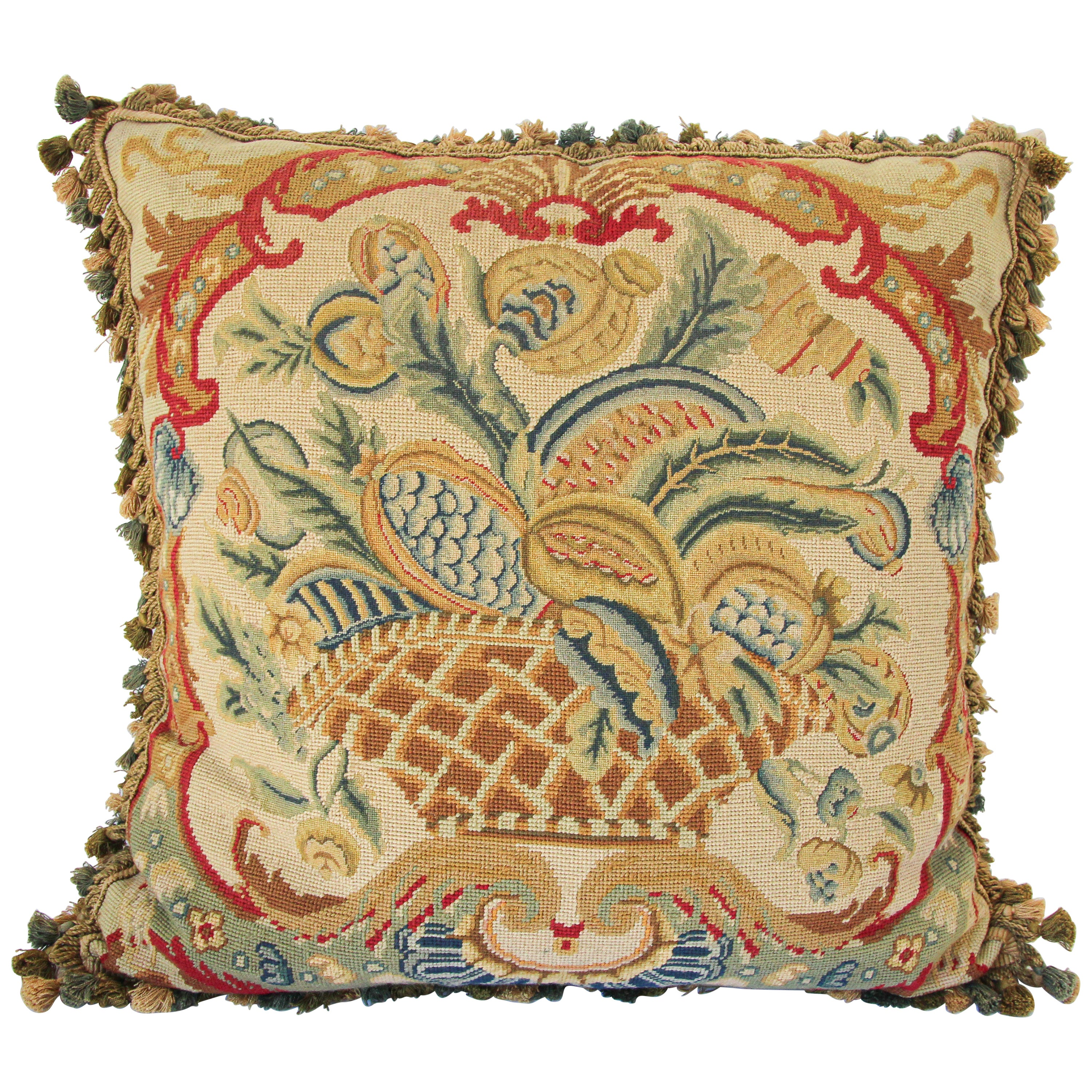 Large Tapestry Aubusson Style Decorative Pillow