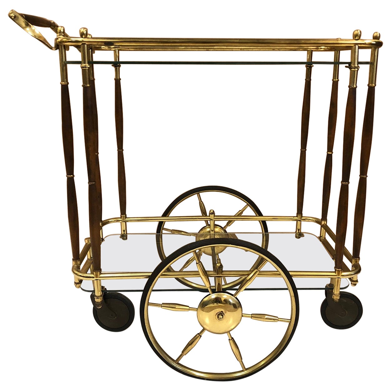 1960s Brass and Walnut Two-Tier Bar Cart