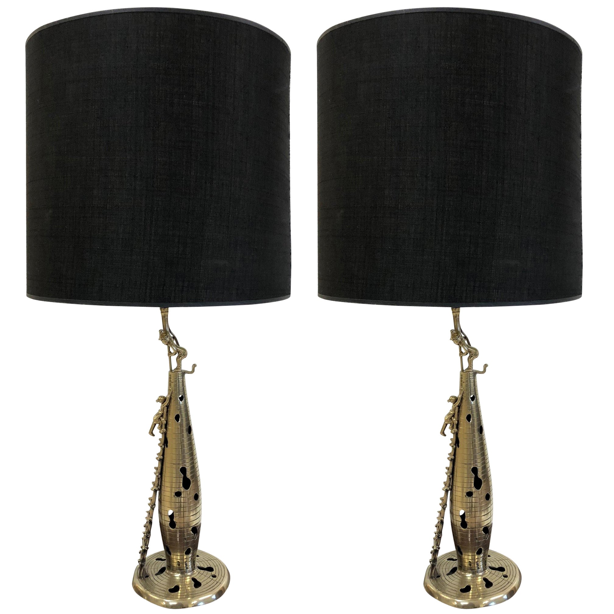 Pair of Chinese Polished Bronze Figural Lamps