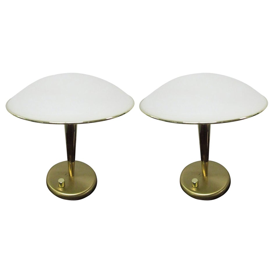 Pair of Italian Brass and Frosted Dome Desk Lamps