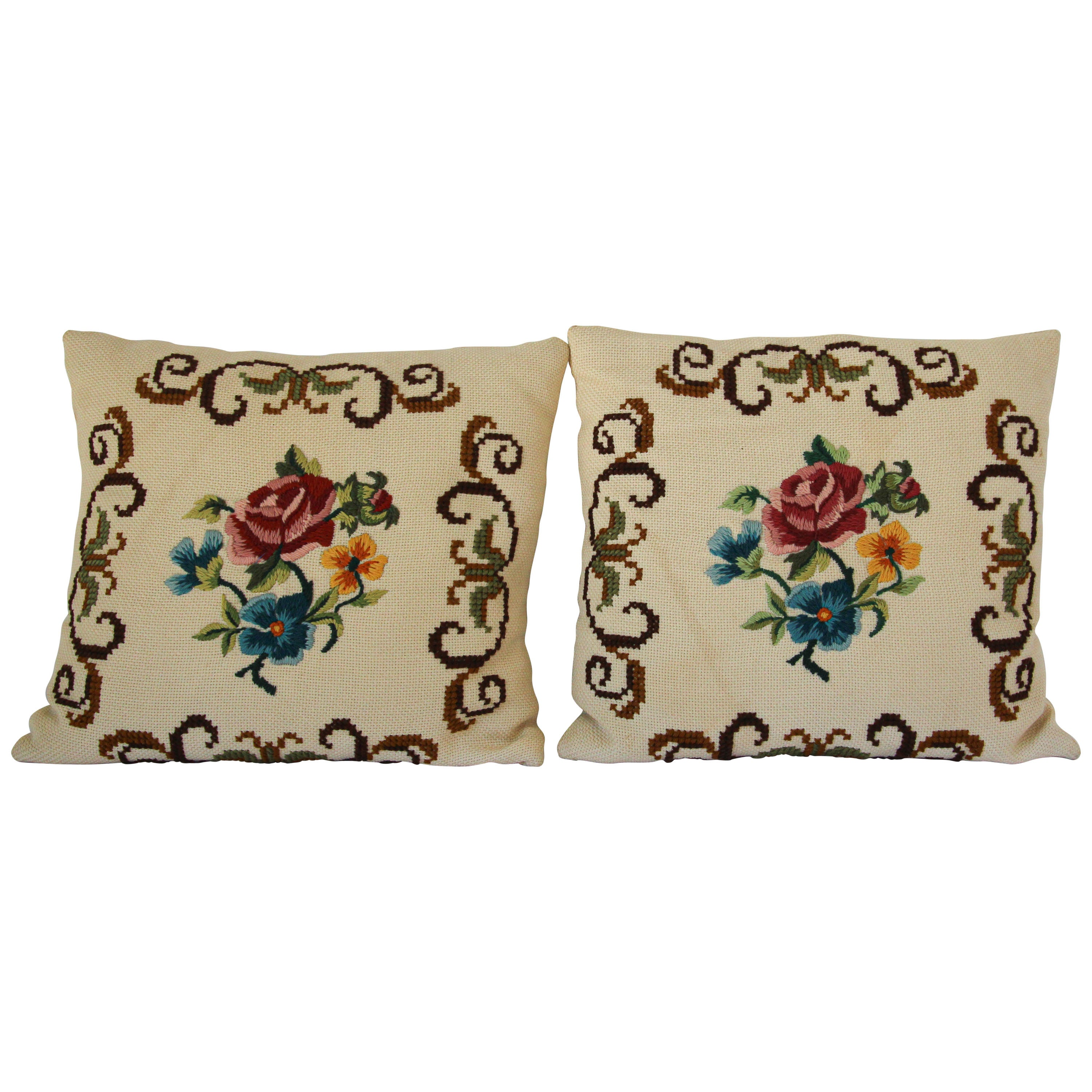 French Provincial Handmade Needlepoint Pillows