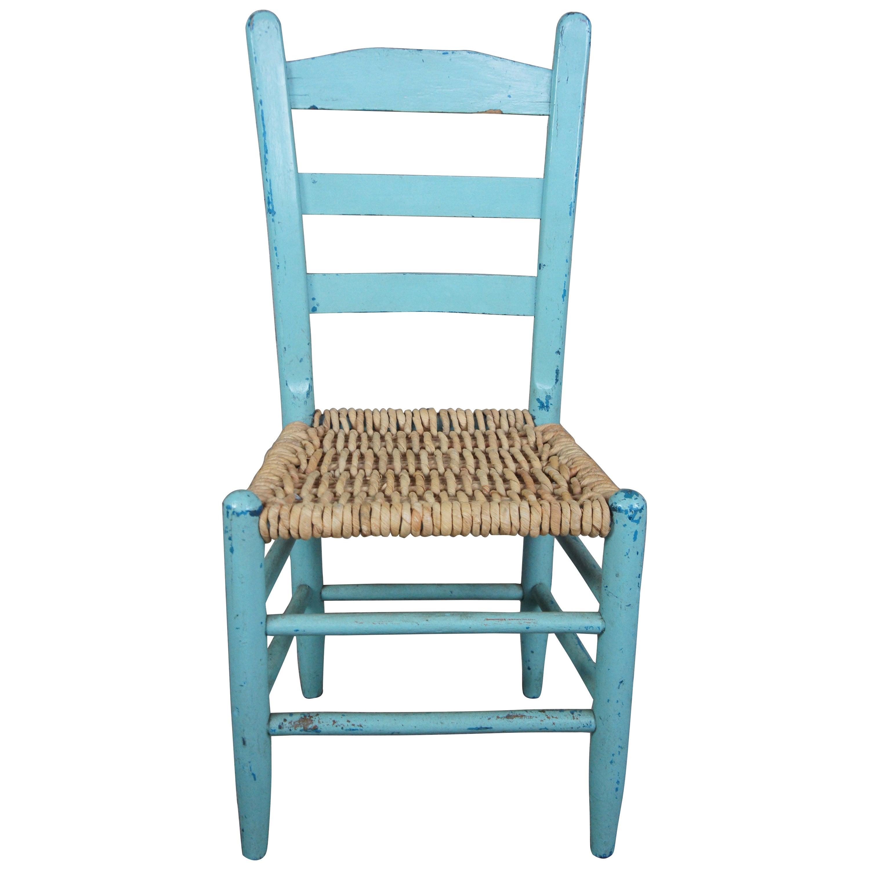 Vintage Shaker Ladder Back Turquoise Boho Chic Dining Side Chair with Jute Seat
