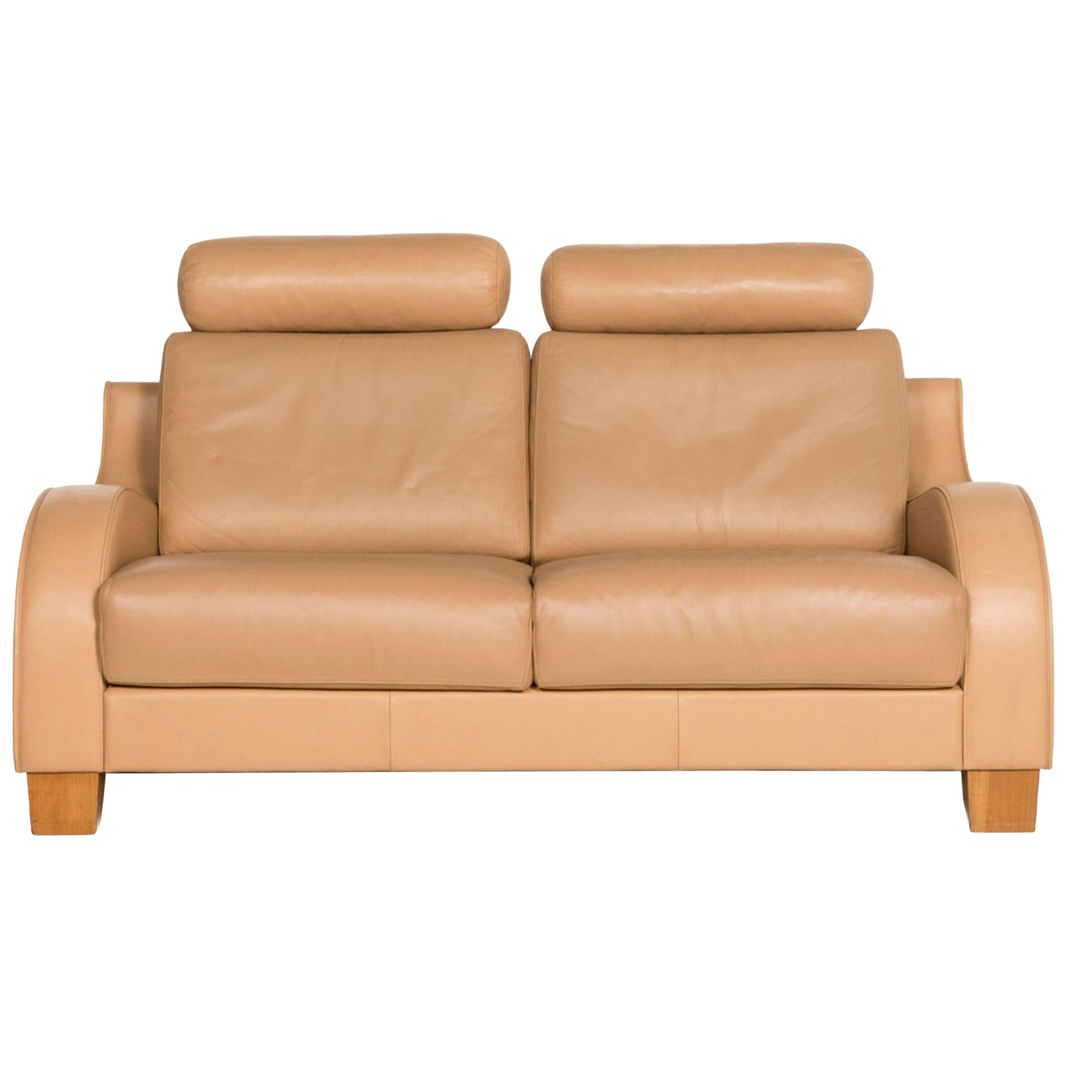 De Sede Leather Sofa Beige Two-Seat Function Couch