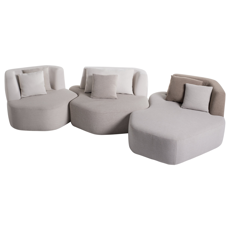 Organic Sofa Pierre in White, Cream, Brown Wool Handmade in France Customizable
