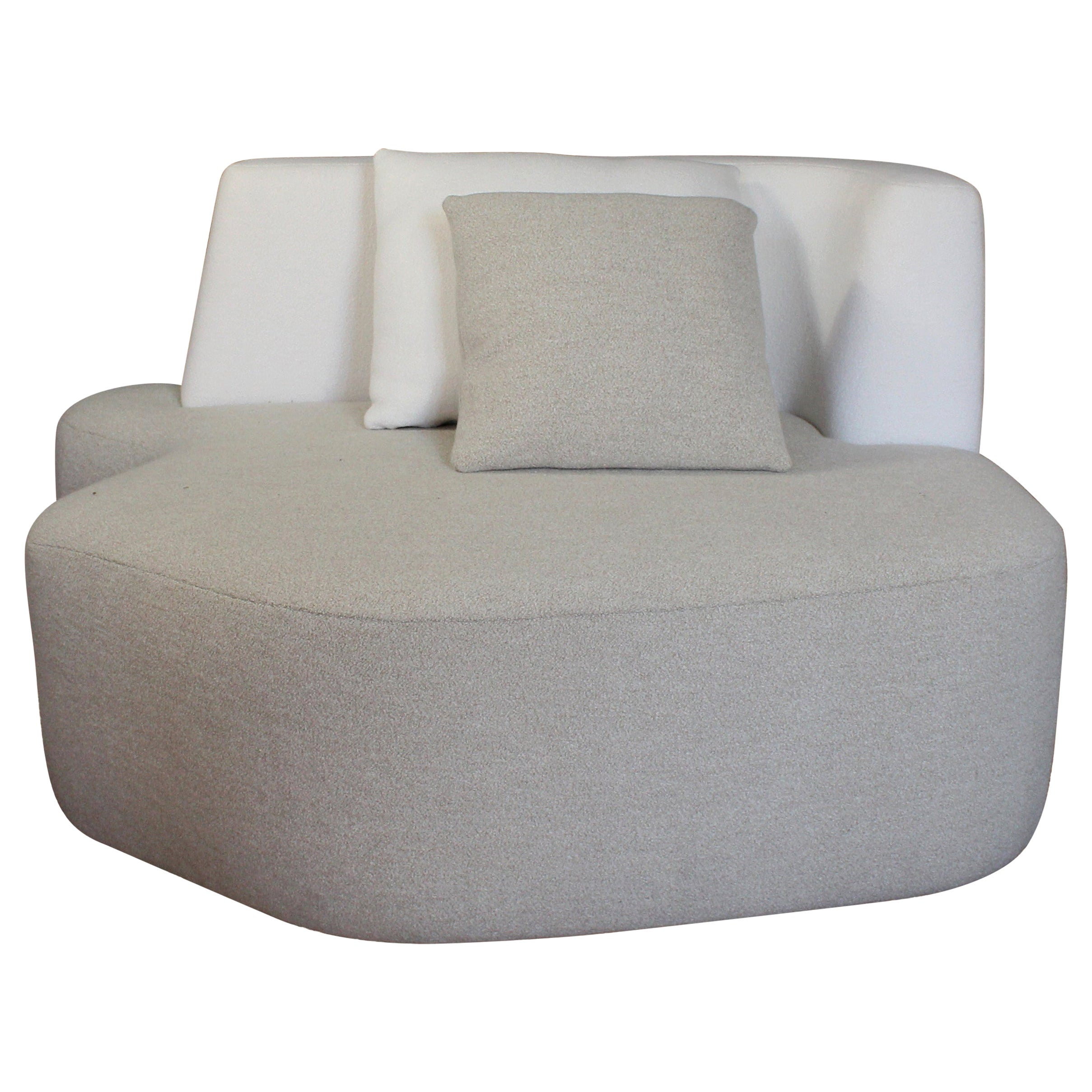 Bespoke Organic Sofa in White and Cream Wool Handmade in France Customizable