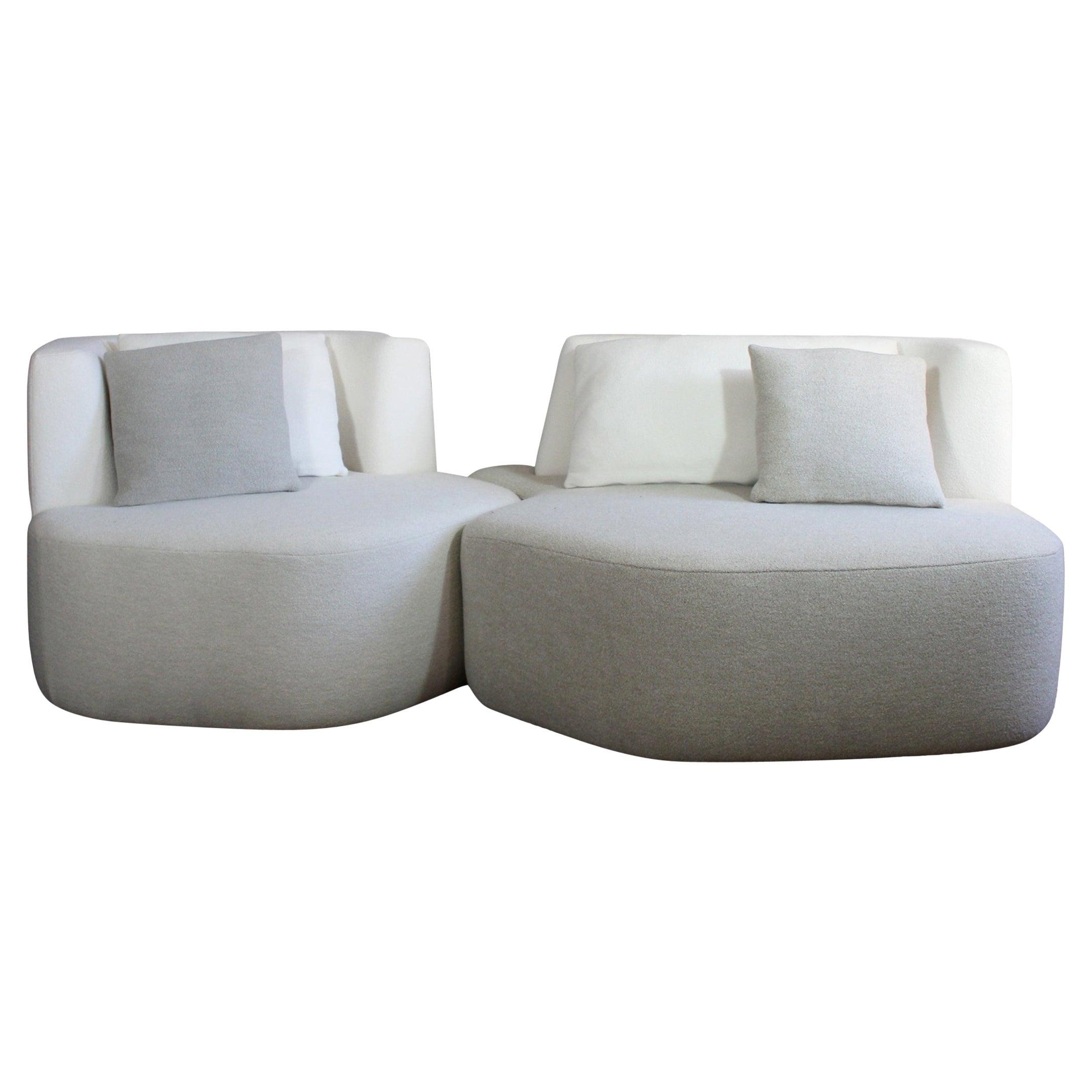 Bespoke Organic Sofa in White Cream Wool 2 Modules Made in France Customizable