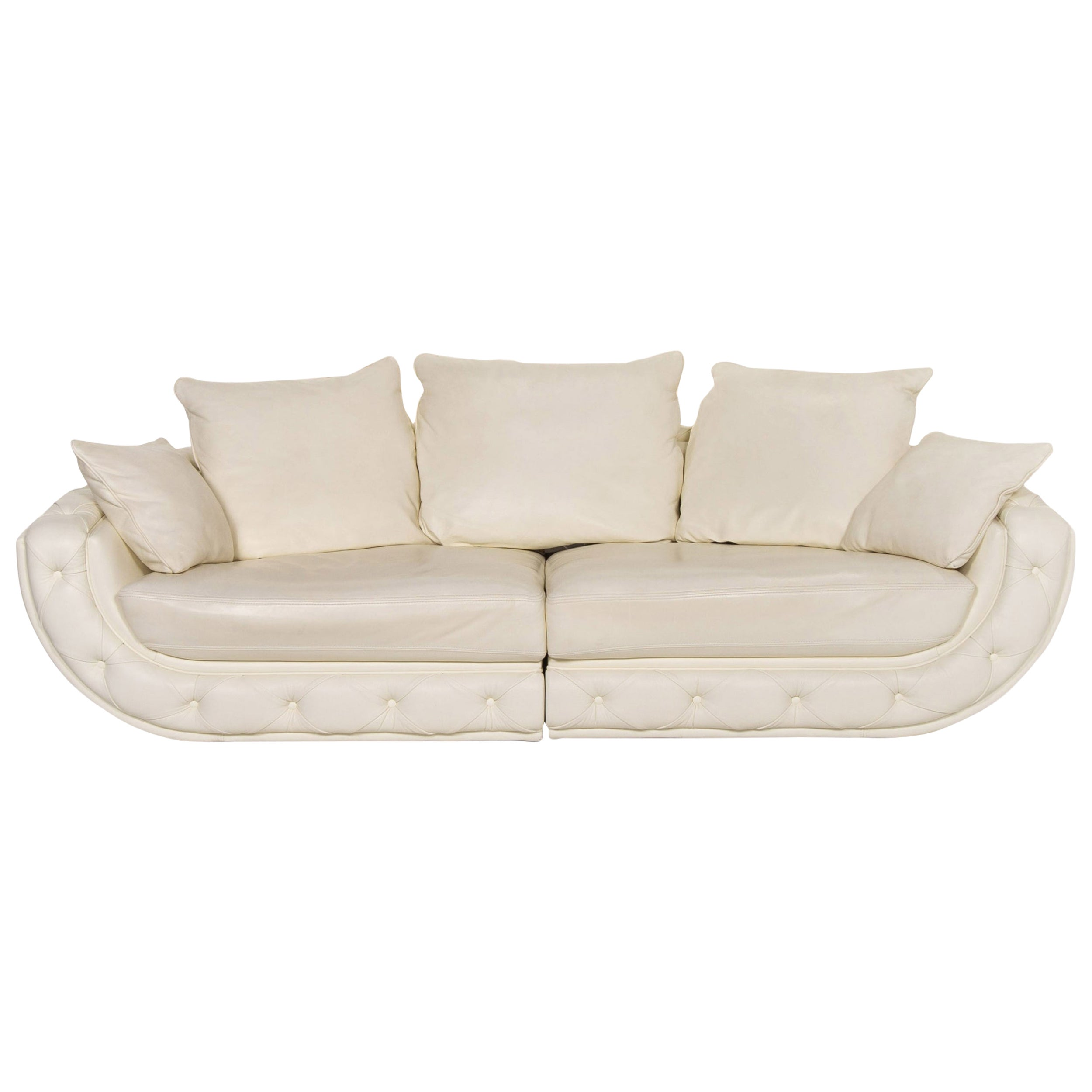 Nieri Leather Sofa Cream Four-Seat Couch
