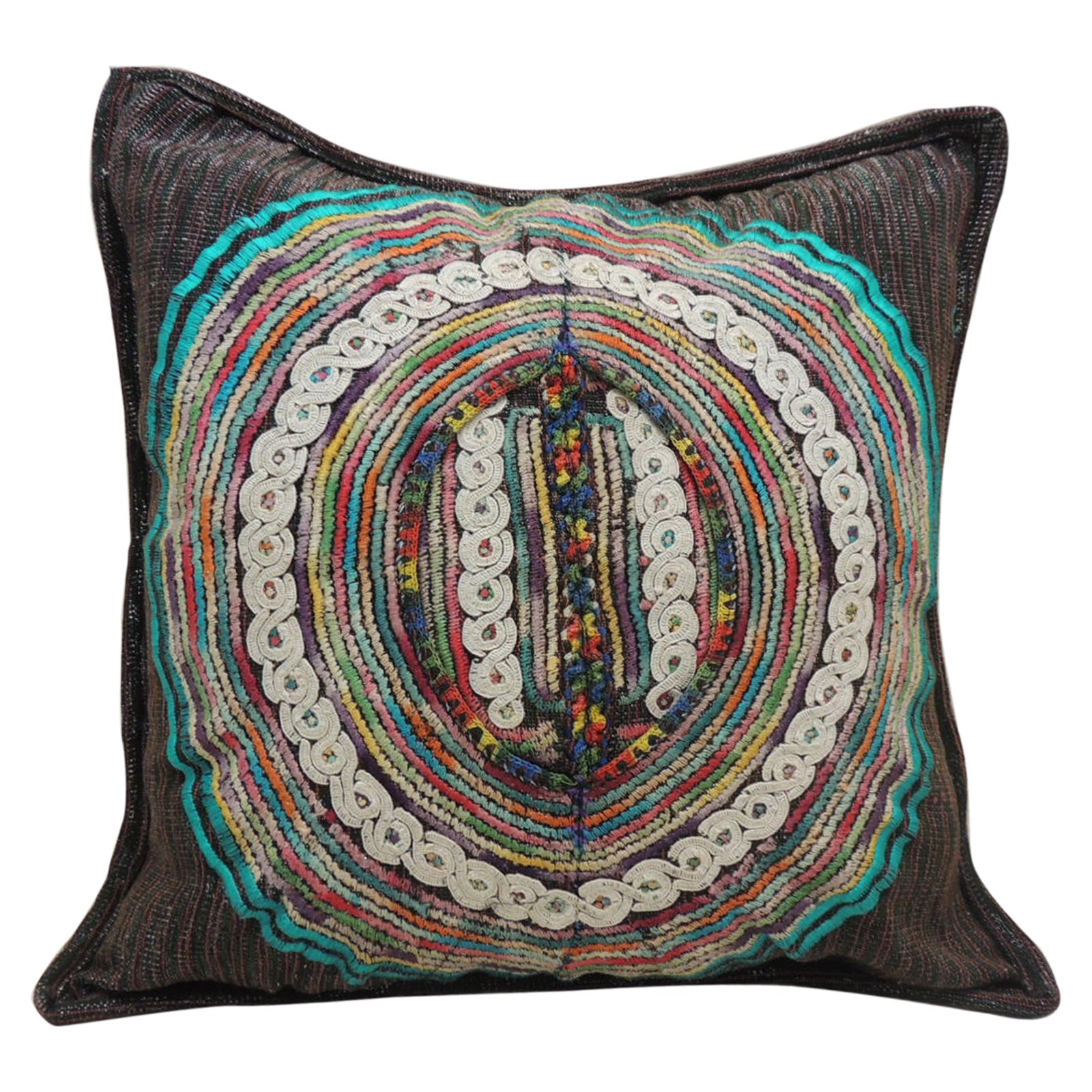 Large Black and Aqua Guatemalan Embroidered Square Decorative Pillow