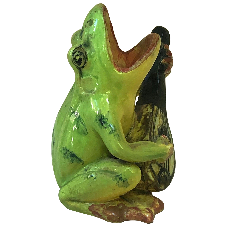 Majolica Frog with Mandolin Massier, circa 1900