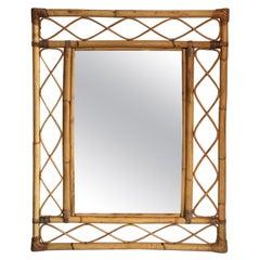 Mid Century Large Cane / Rattan Rectangular Wall Mirror, Italian, 1970s