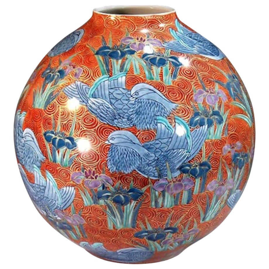 Japanese Hand Painted Red Porcelain Vase by Master Artist