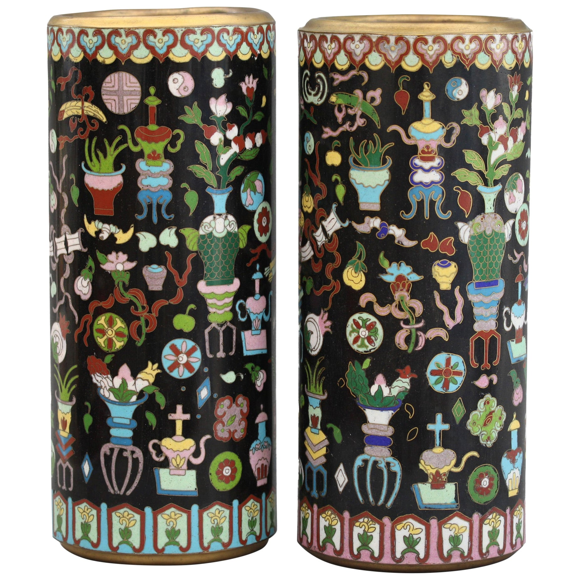 Pair of Chinese Cloisonné Cylindrical Precious Object Vases