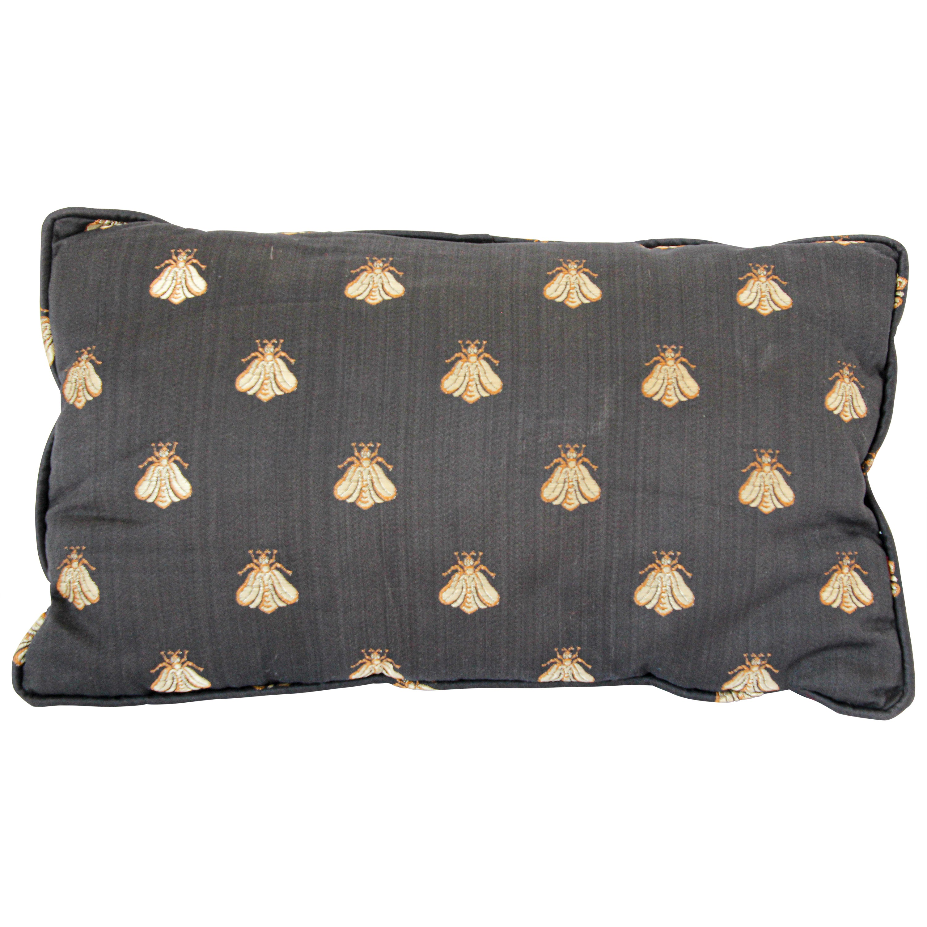 Throw Decorative Black and Gold Silk Accent Pillow