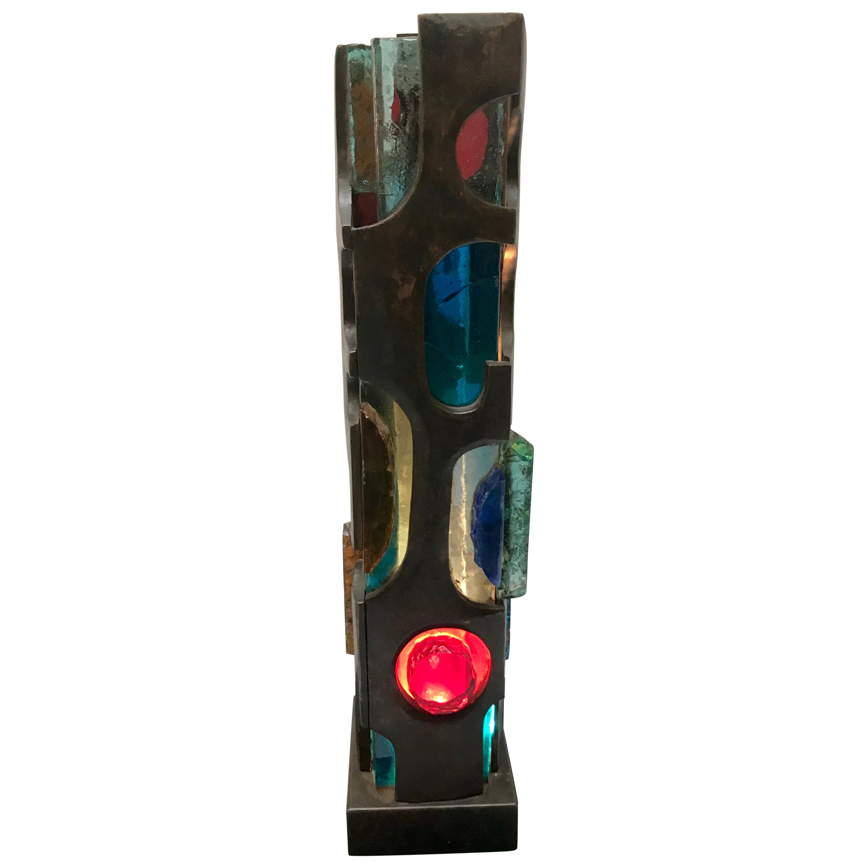 Brutalist Table Lamp Bronze and Glass