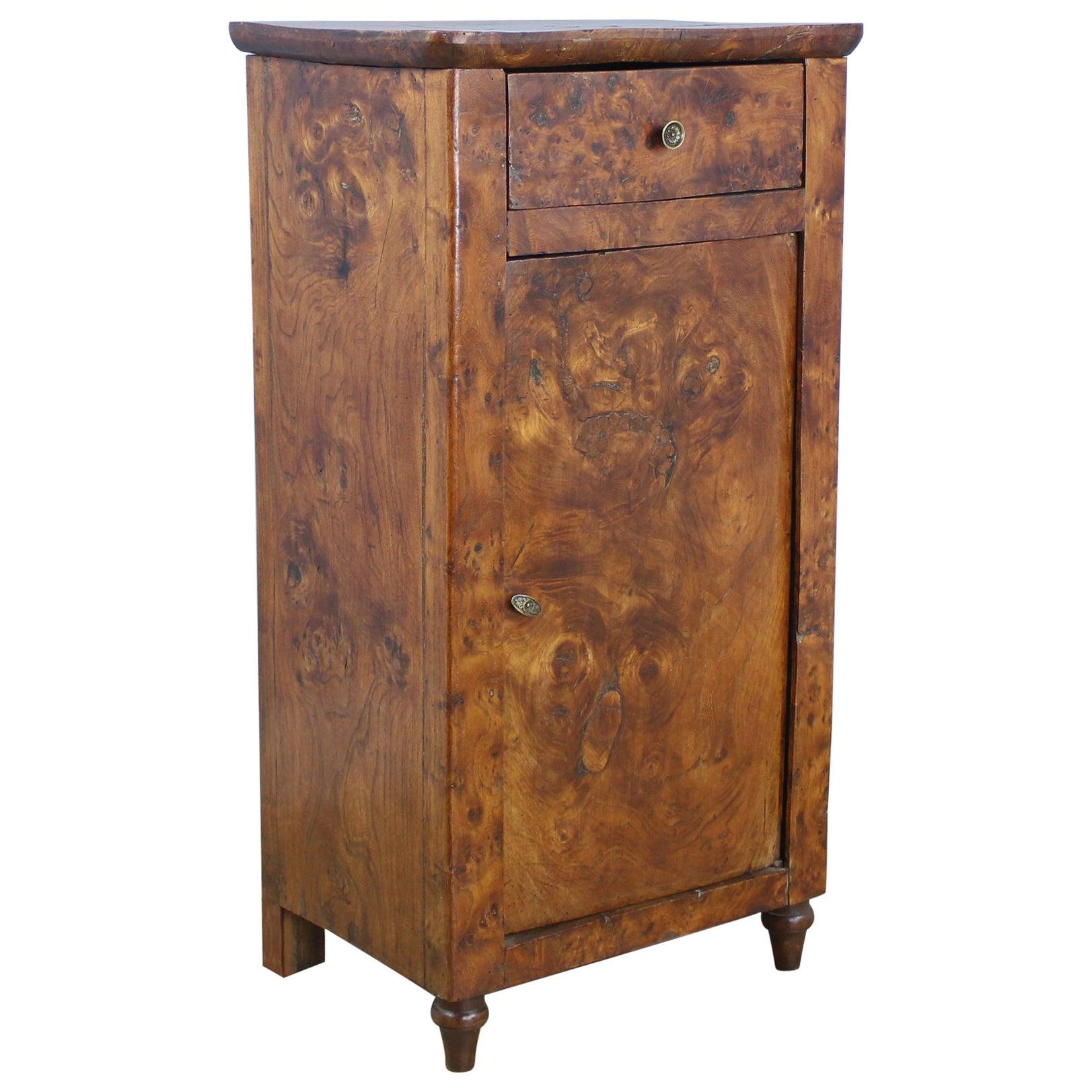 Antique Burr Elm Side Cabinet
