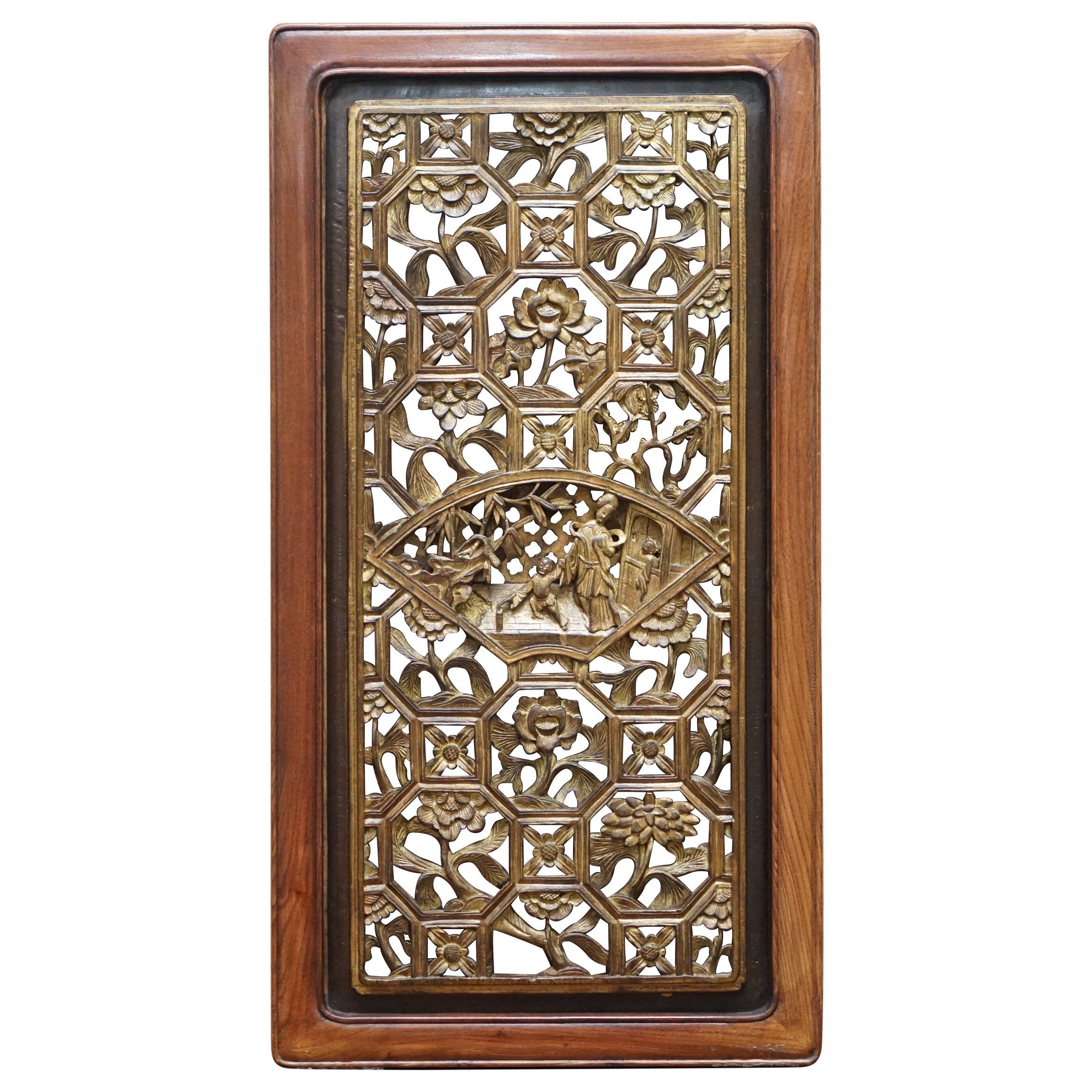 Chinese Export circa 1900 Gold Leaf Painted Fret Work Carved Wall Panel in Teak
