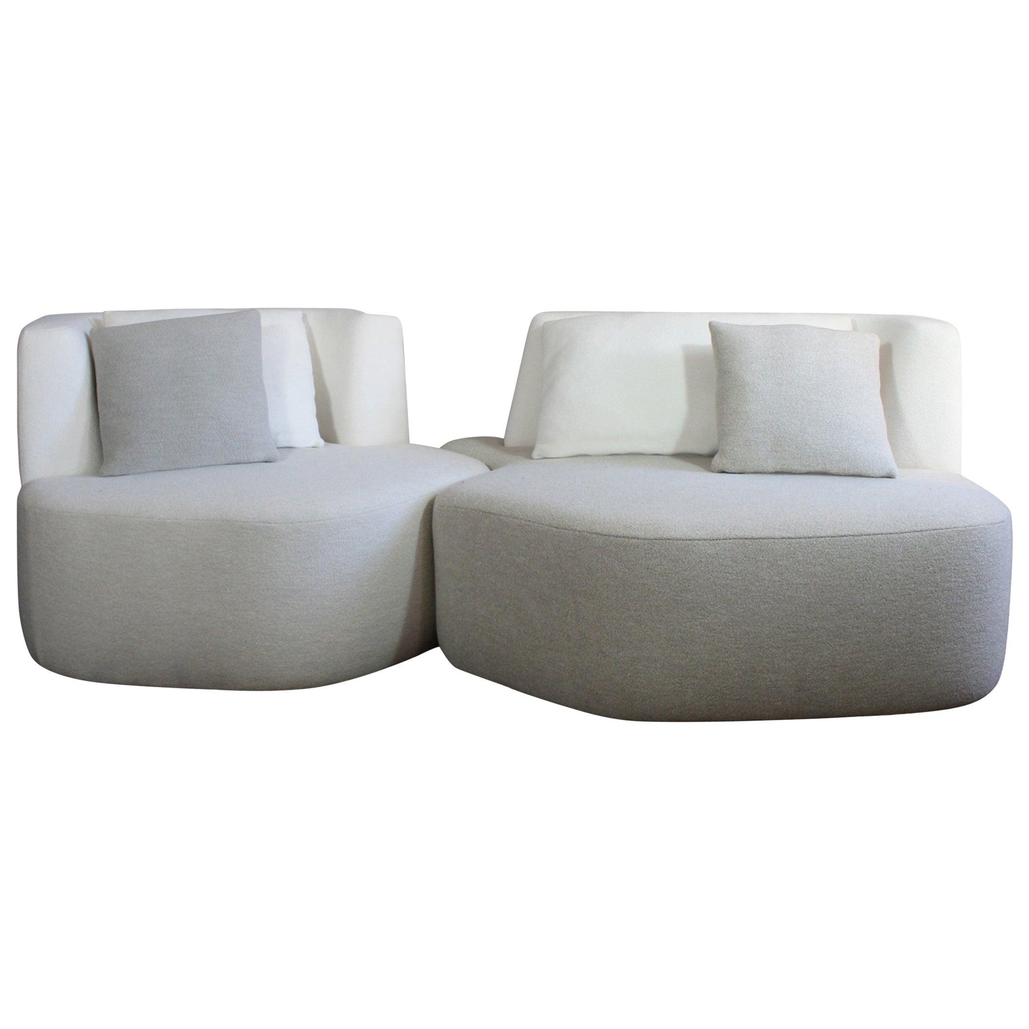 Bespoke Organic Sofa in White Cream Wool 2 Modules Made in France by Eric Gizard