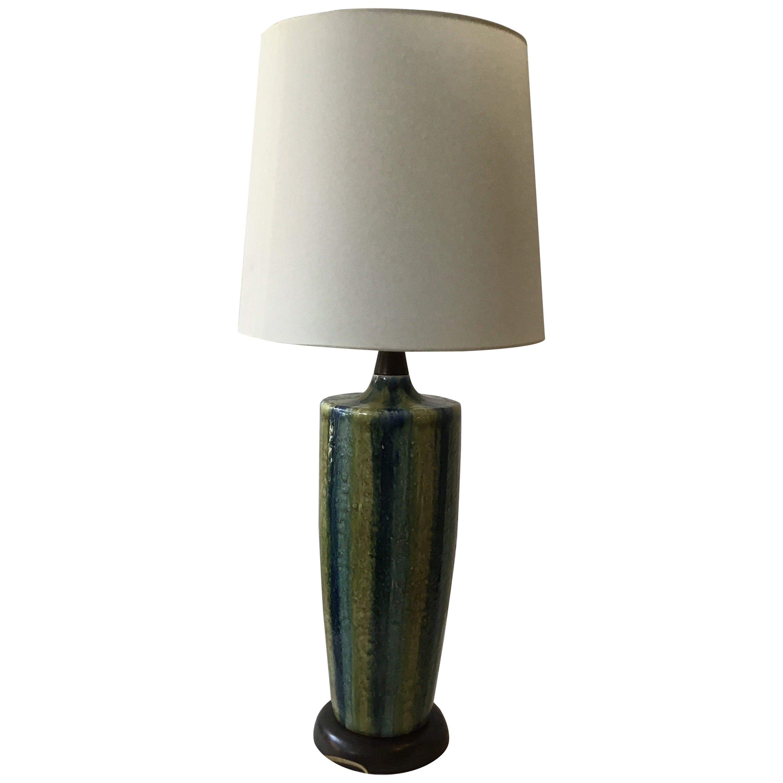 1960s Blue Striped Ceramic Lamp