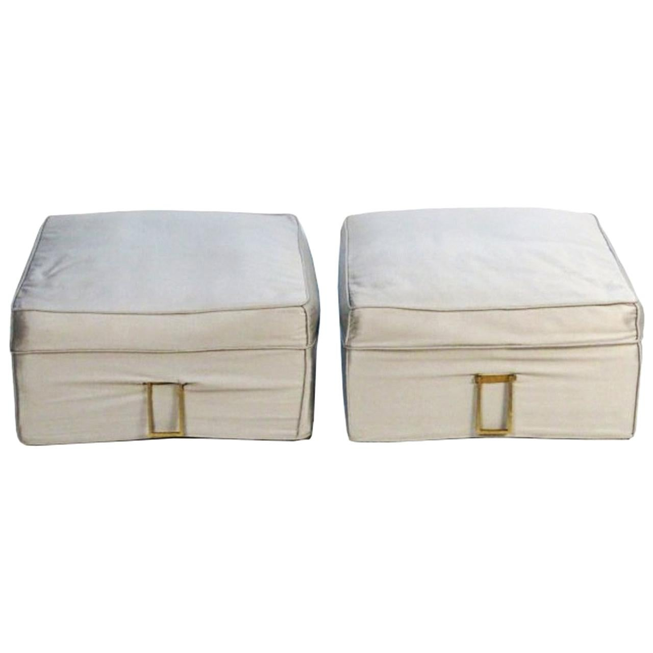 Pair of Upholstered Benches with Brass Handles
