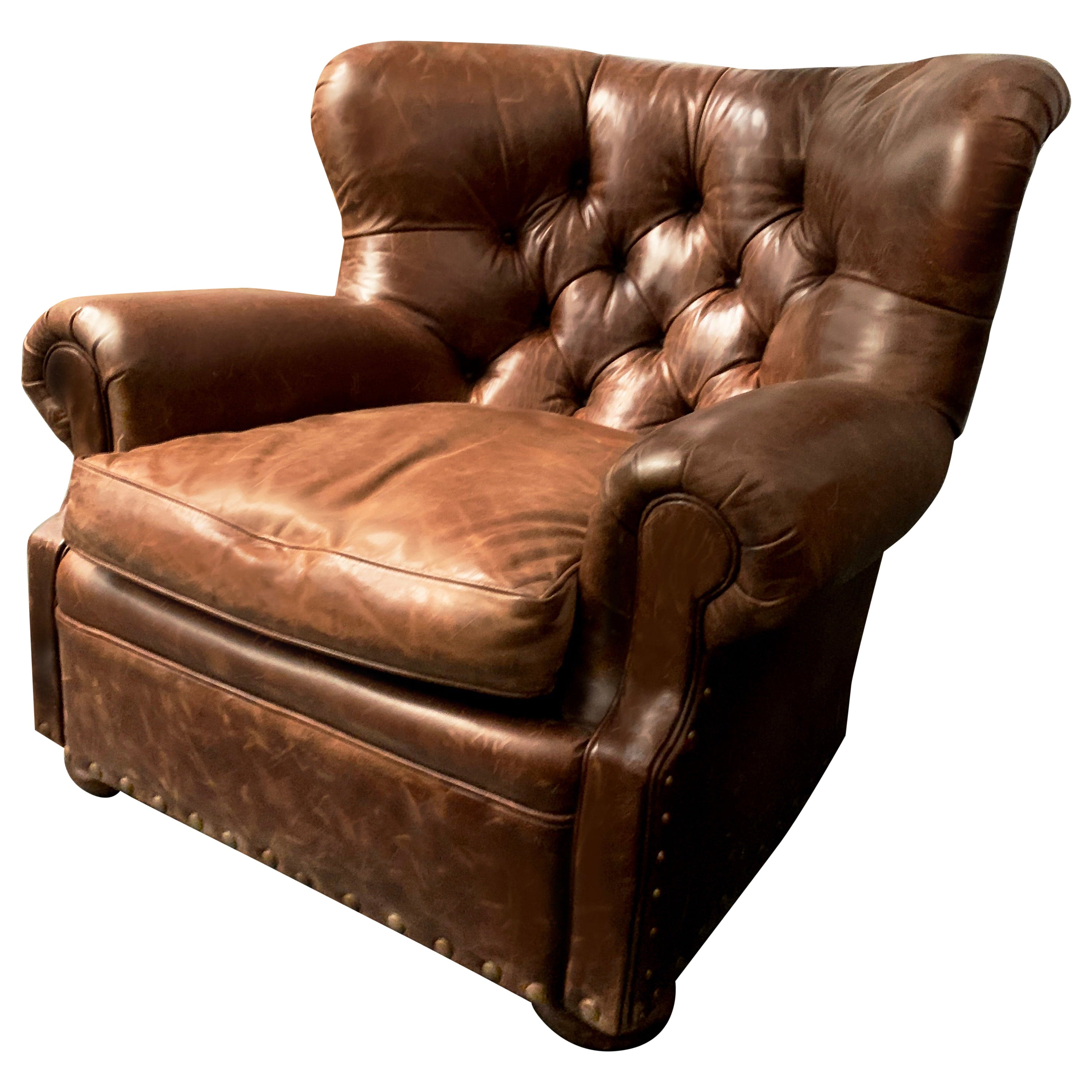 Henredon Vintage Brown Leather Writer's Armchair, Iconic Lounge